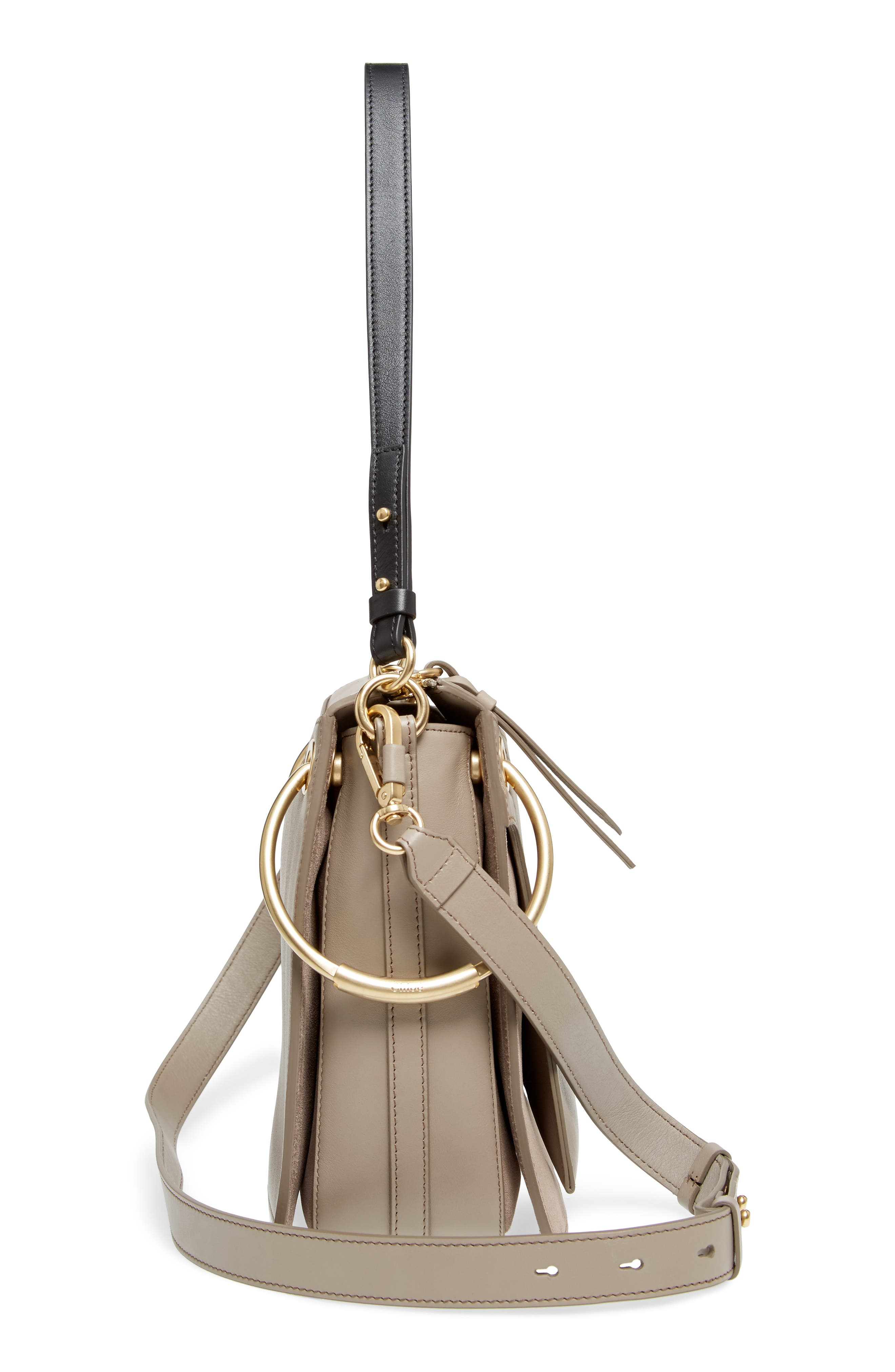 Small Roy Leather Shoulder Bag,                             Alternate thumbnail 5, color,                             Motty Grey