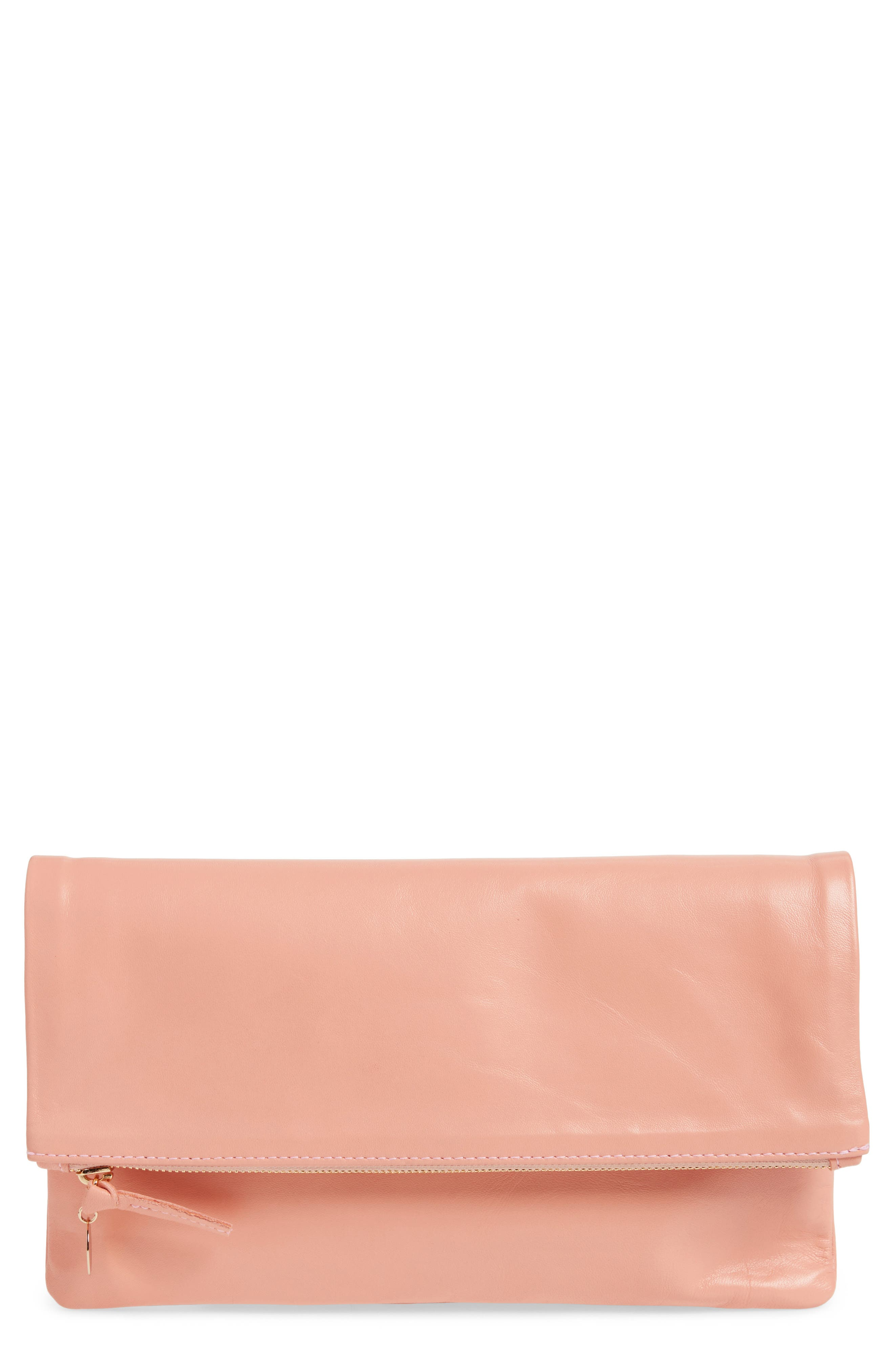 Leather Foldover Clutch,                         Main,                         color, Blush Golfa