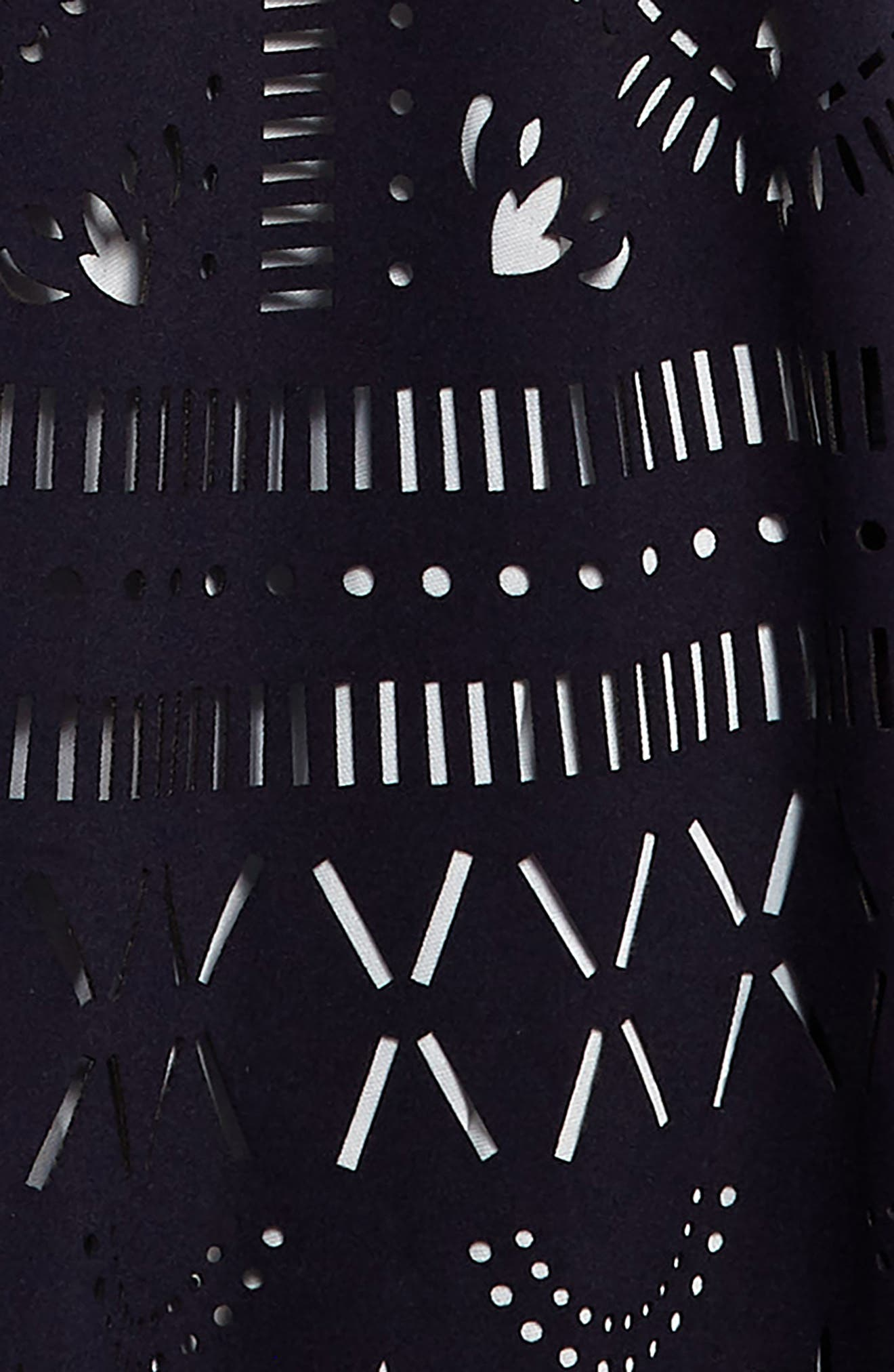 Laser Cut Skater Dress,                             Alternate thumbnail 3, color,                             Navy