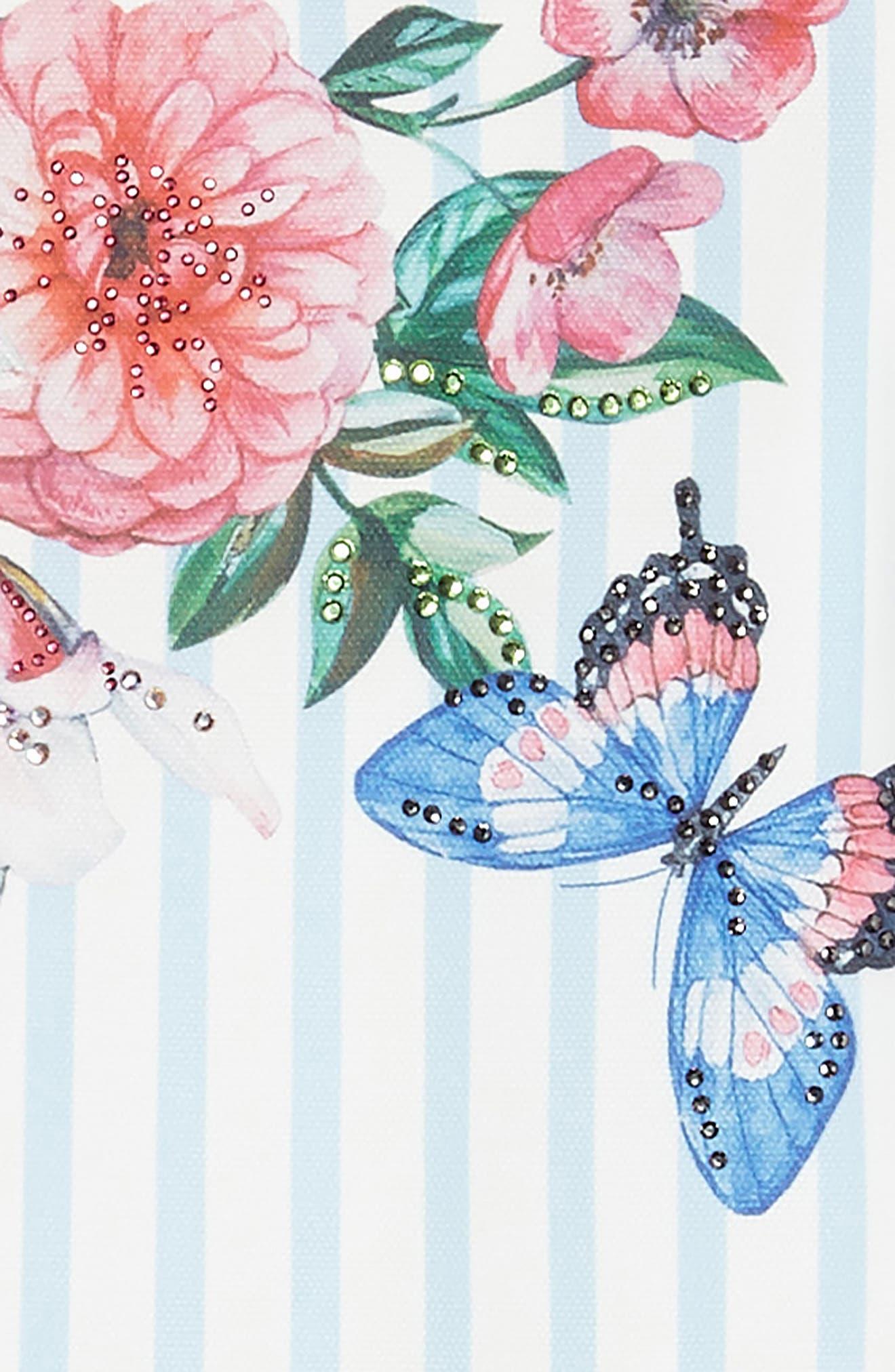 Stripe Floral Skater Dress,                             Alternate thumbnail 3, color,                             Blue/ White