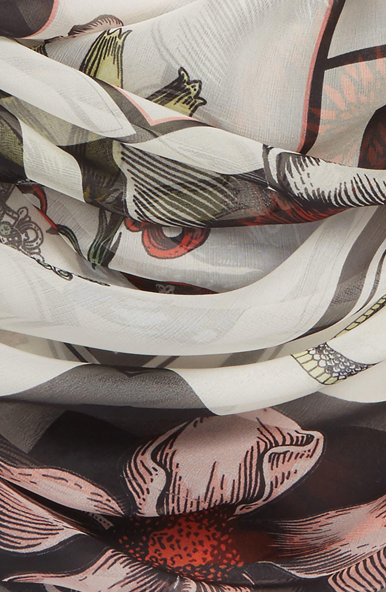 Patch Print Silk Shawl Scarf,                             Alternate thumbnail 3, color,                             Ivory/ Black