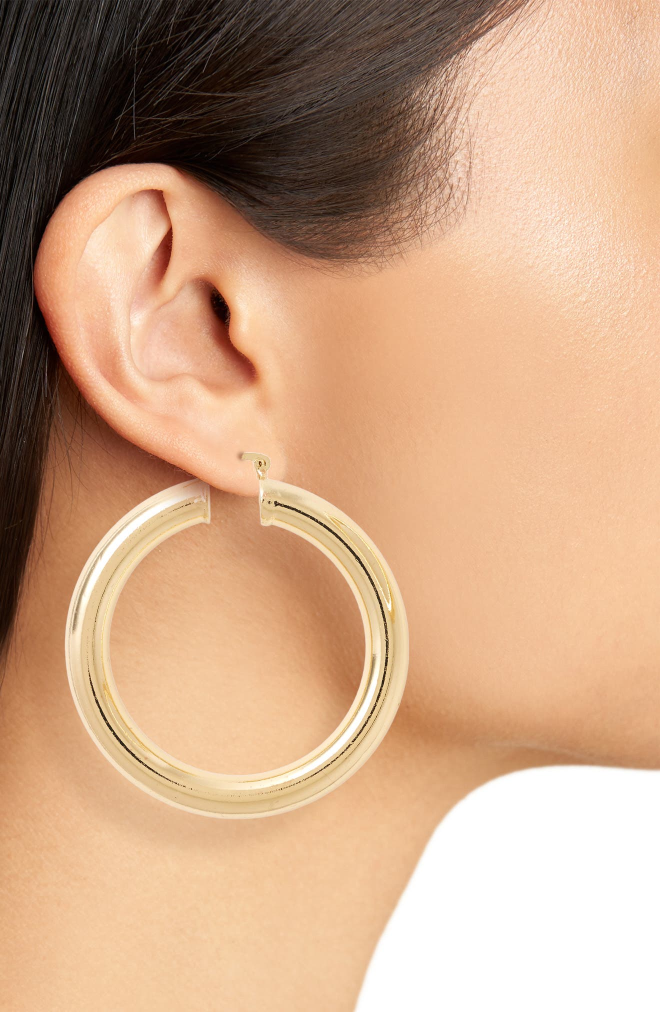 Thick Hoop Earrings,                             Alternate thumbnail 2, color,                             Gold