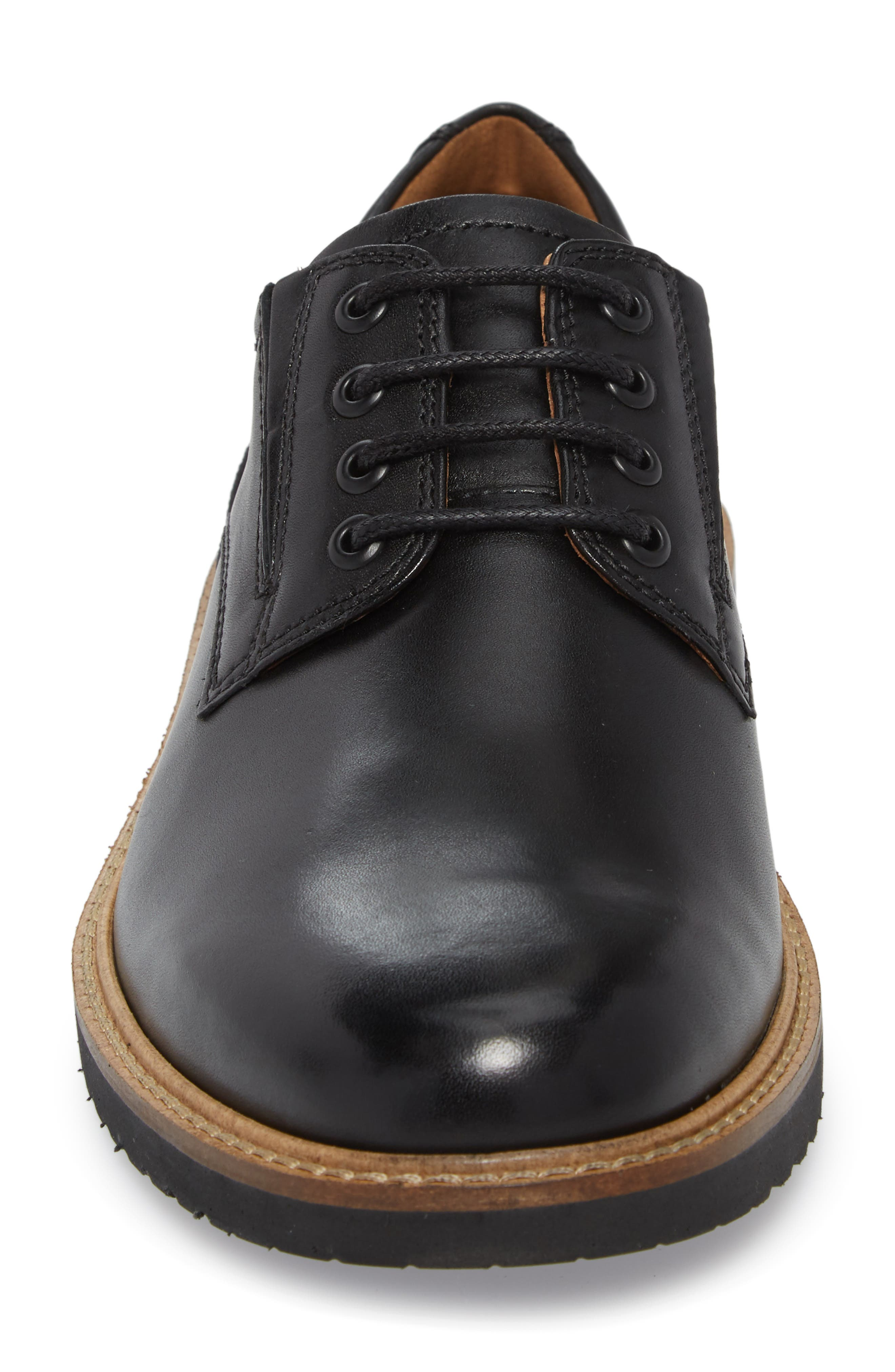 Ian Casual Plain Toe Derby,                             Alternate thumbnail 4, color,                             Black Leather