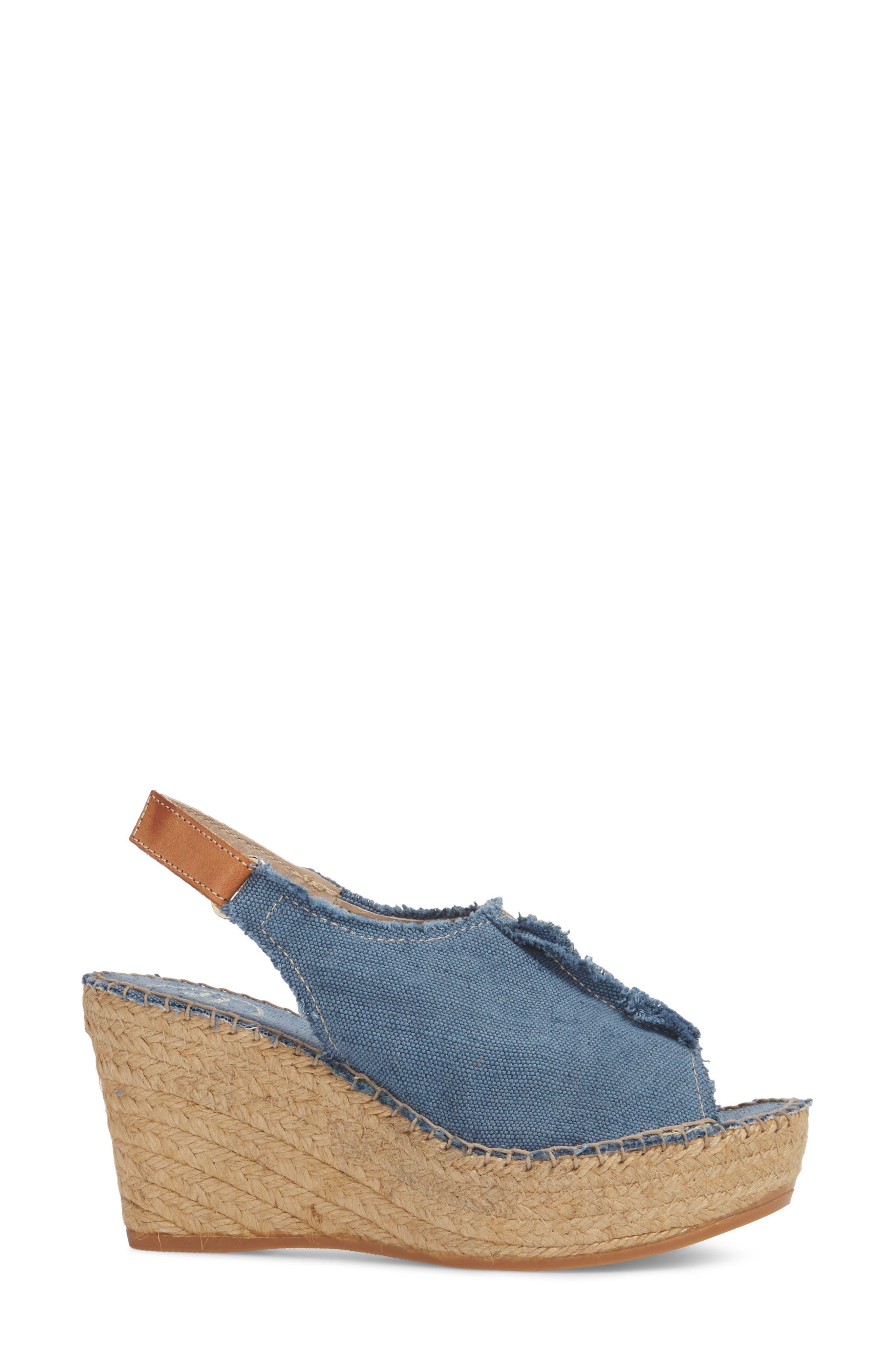 'Lugano' Espadrille Wedge Sandal,                             Alternate thumbnail 3, color,                             Blue Fabric