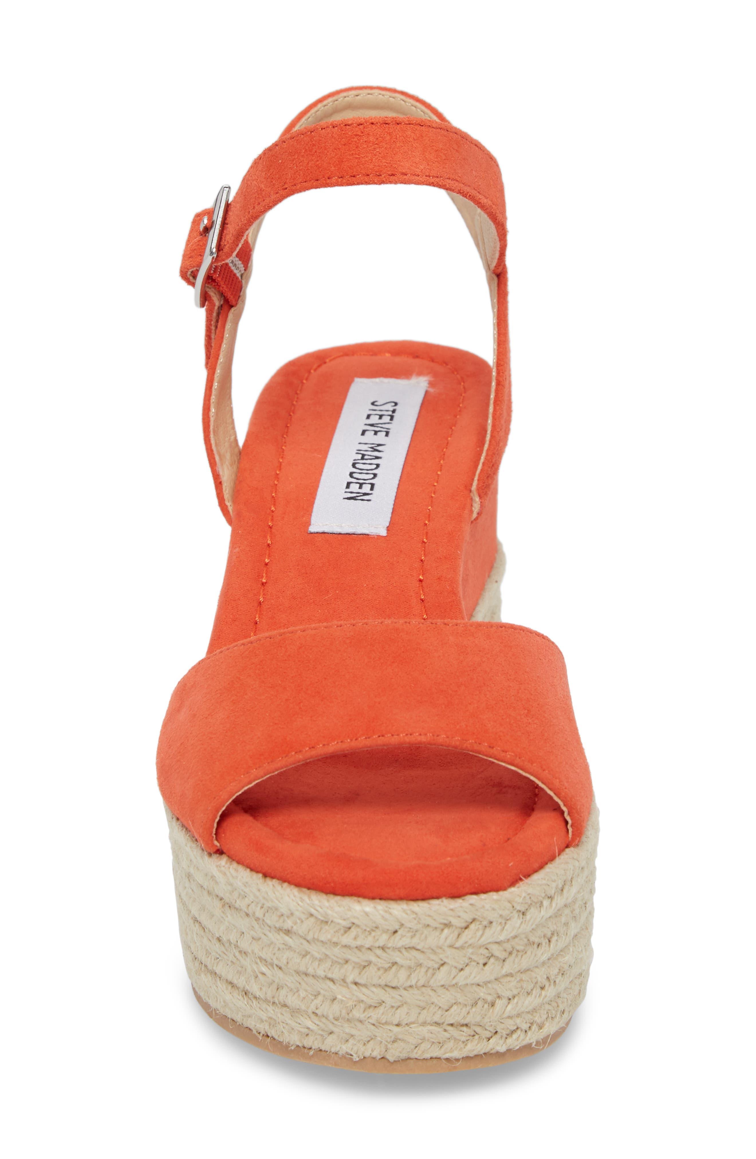 Kianna Espadrille Wedge Sandal,                             Alternate thumbnail 4, color,                             Coral Suede