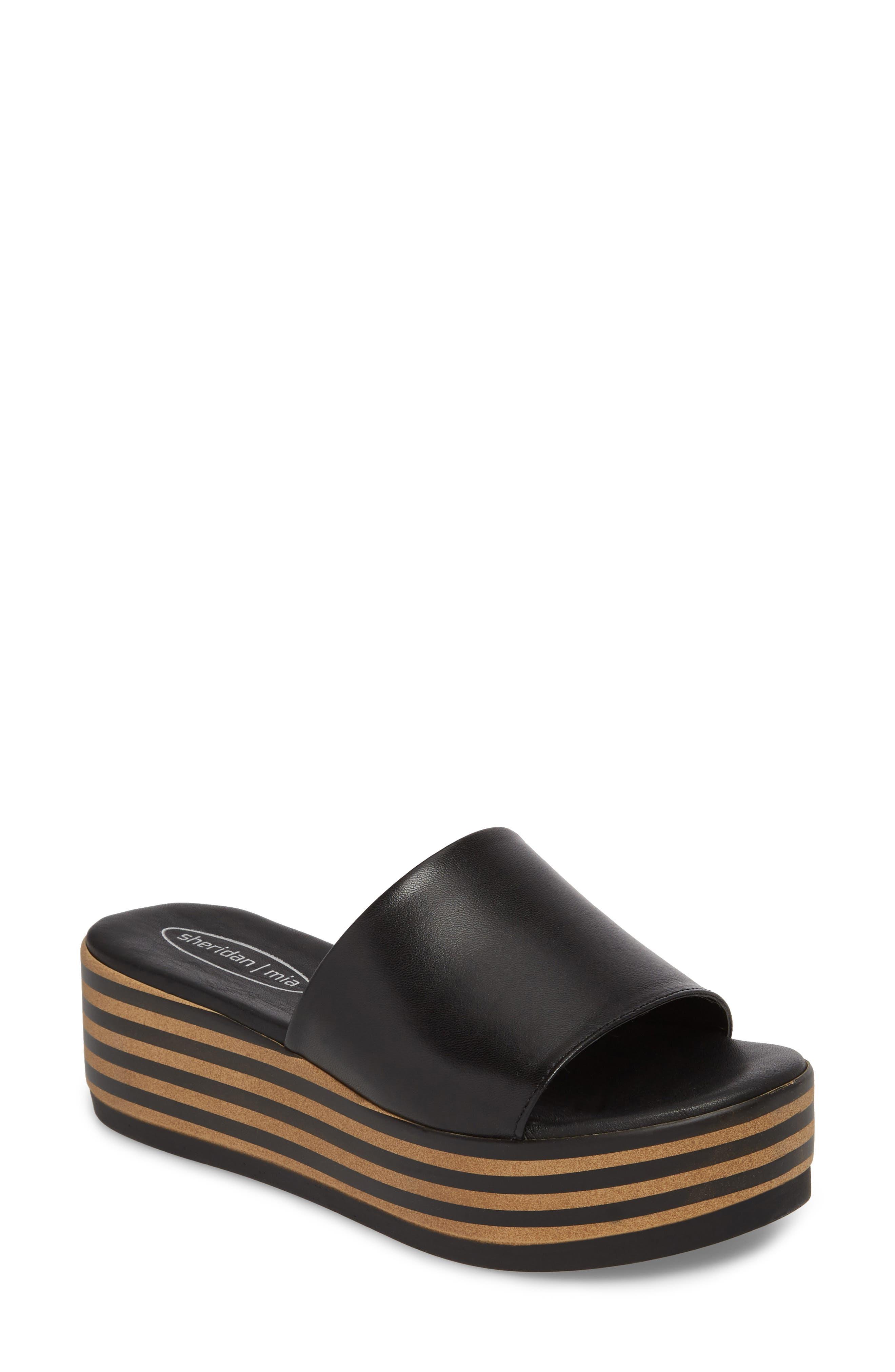 Reesa Platform Slide Sandal,                             Main thumbnail 1, color,                             Black Leather