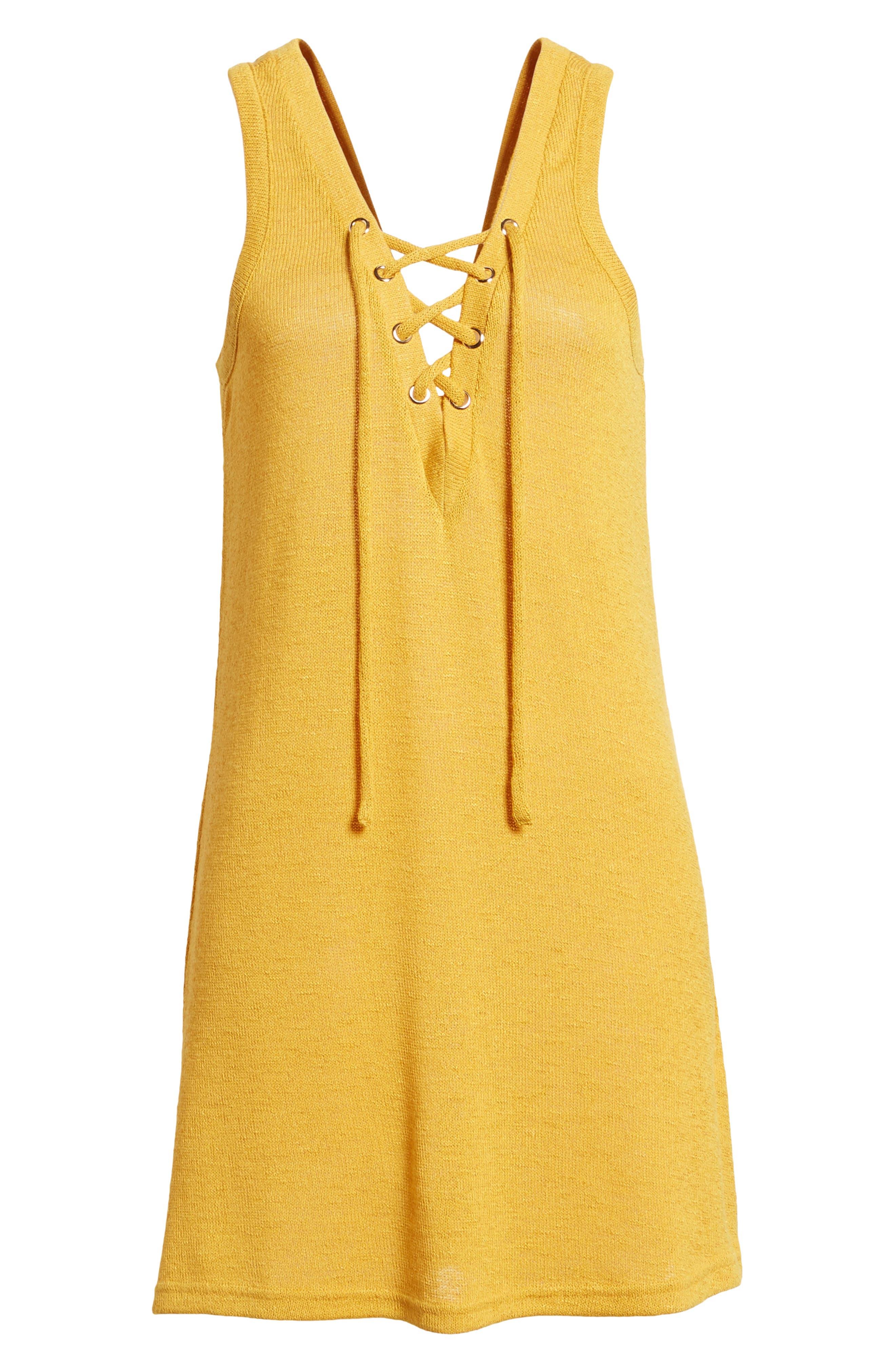Heat Rising Lace-Up Dress,                             Alternate thumbnail 7, color,                             Saffron