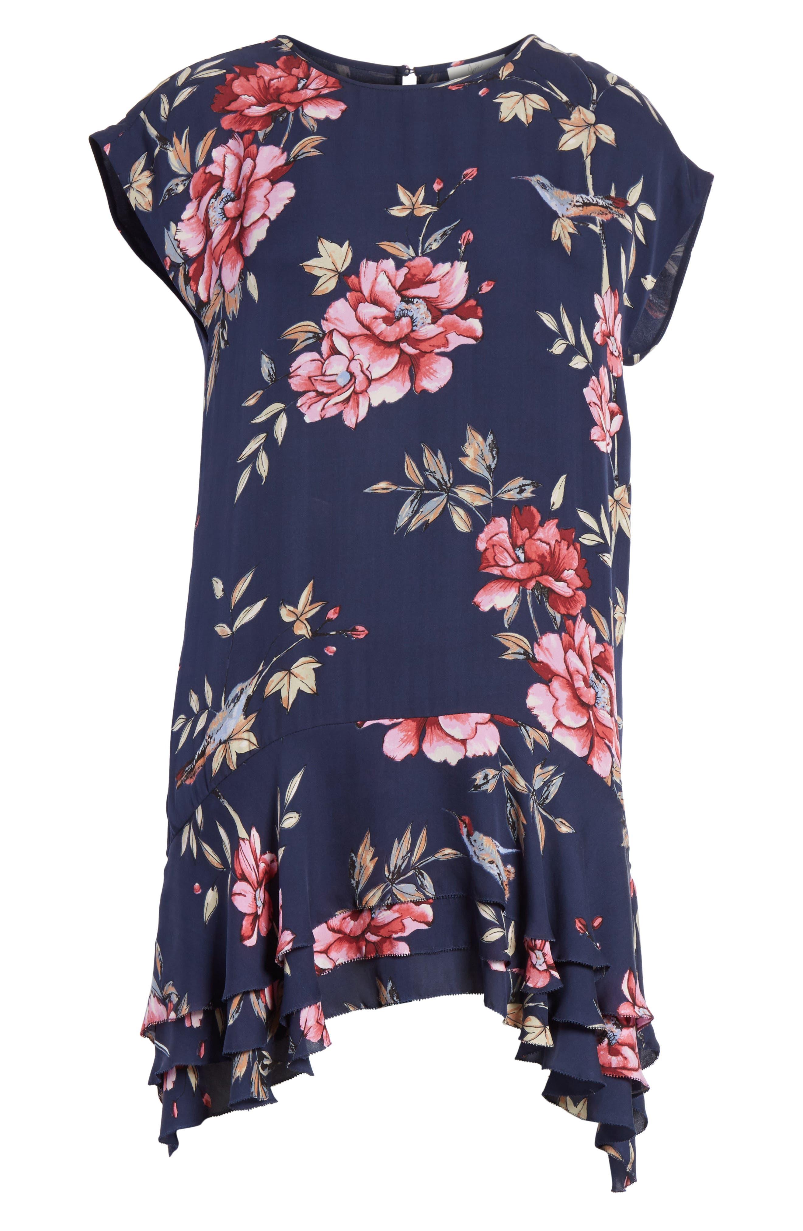 Coreen Drop Waist Floral Silk Dress,                             Alternate thumbnail 6, color,                             Dark Navy