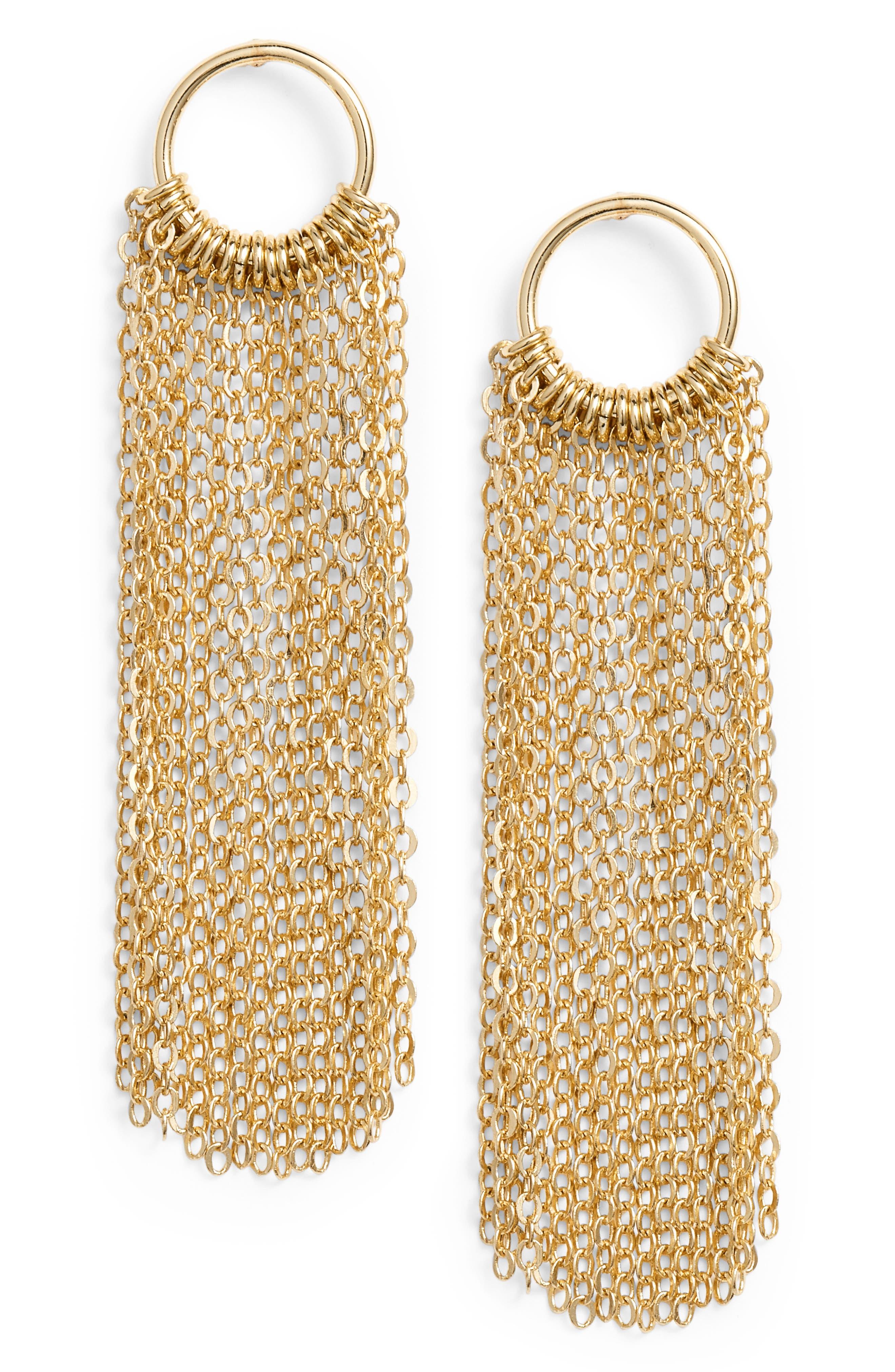 Open Circle Fringe Drop Earrings,                             Main thumbnail 1, color,                             Gold