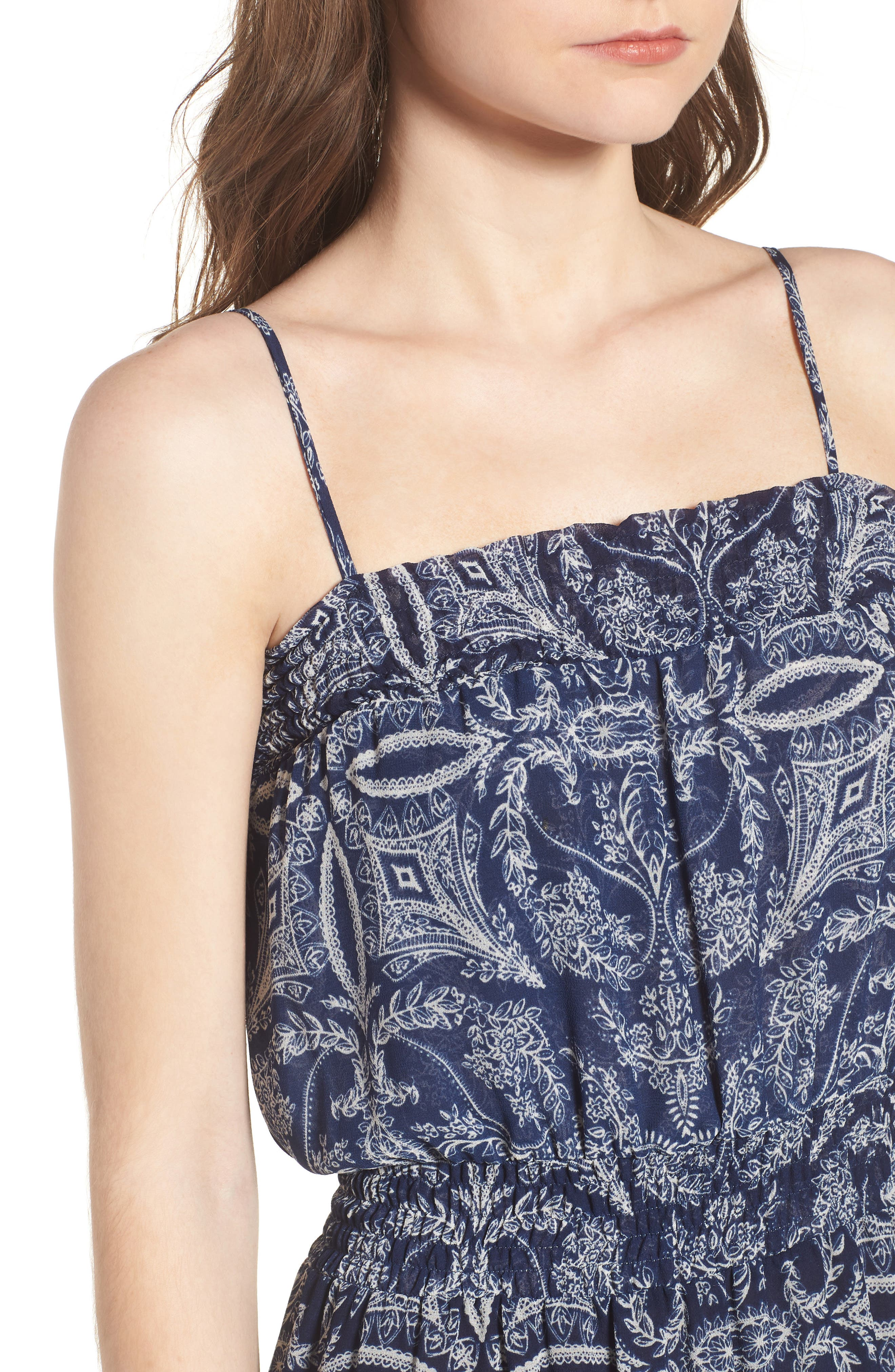 Adel Print Midi Dress,                             Alternate thumbnail 4, color,                             Blue Fe3