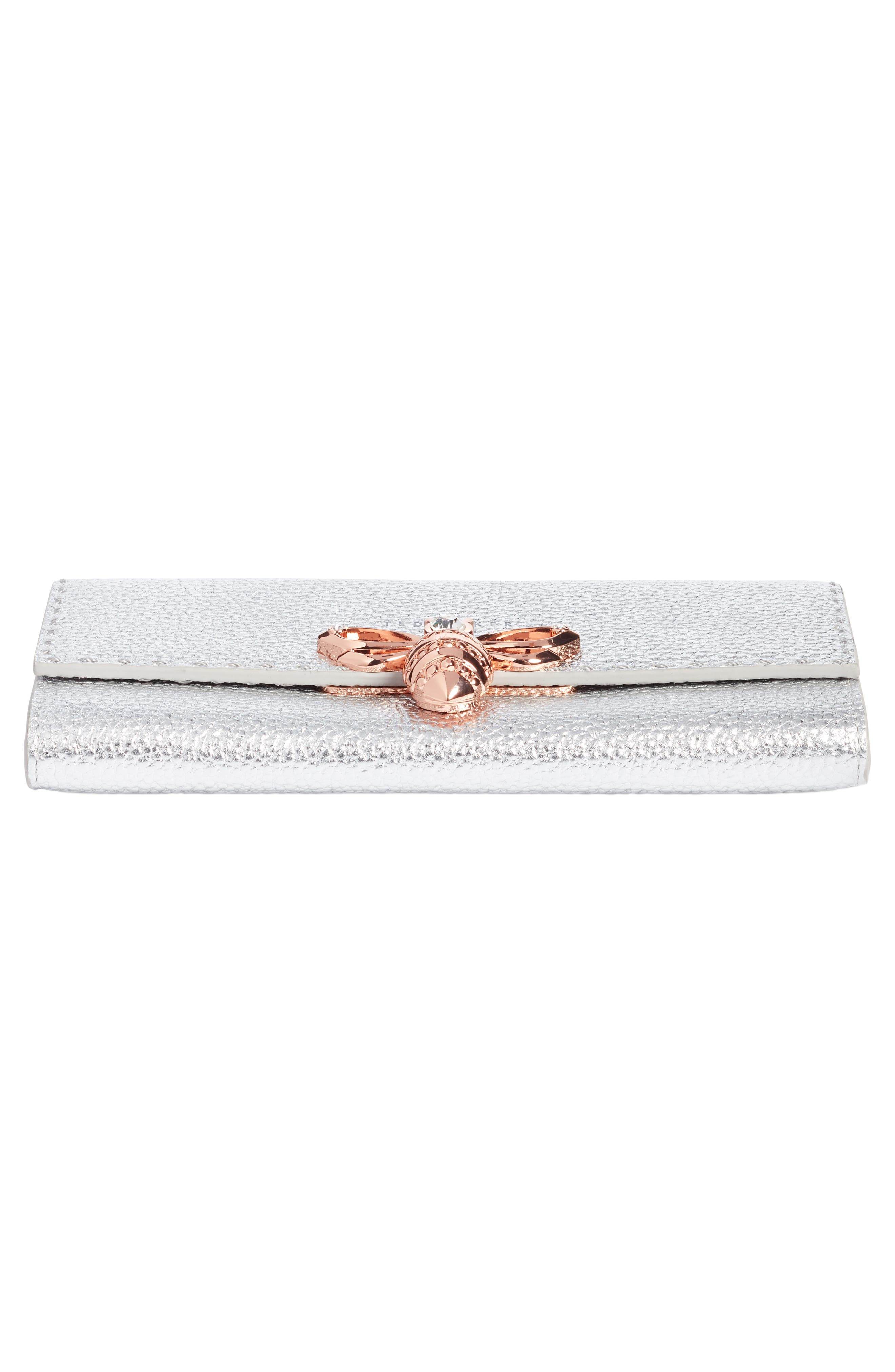 Janese Bee Embellished Matinée Wallet,                             Alternate thumbnail 6, color,                             Silver