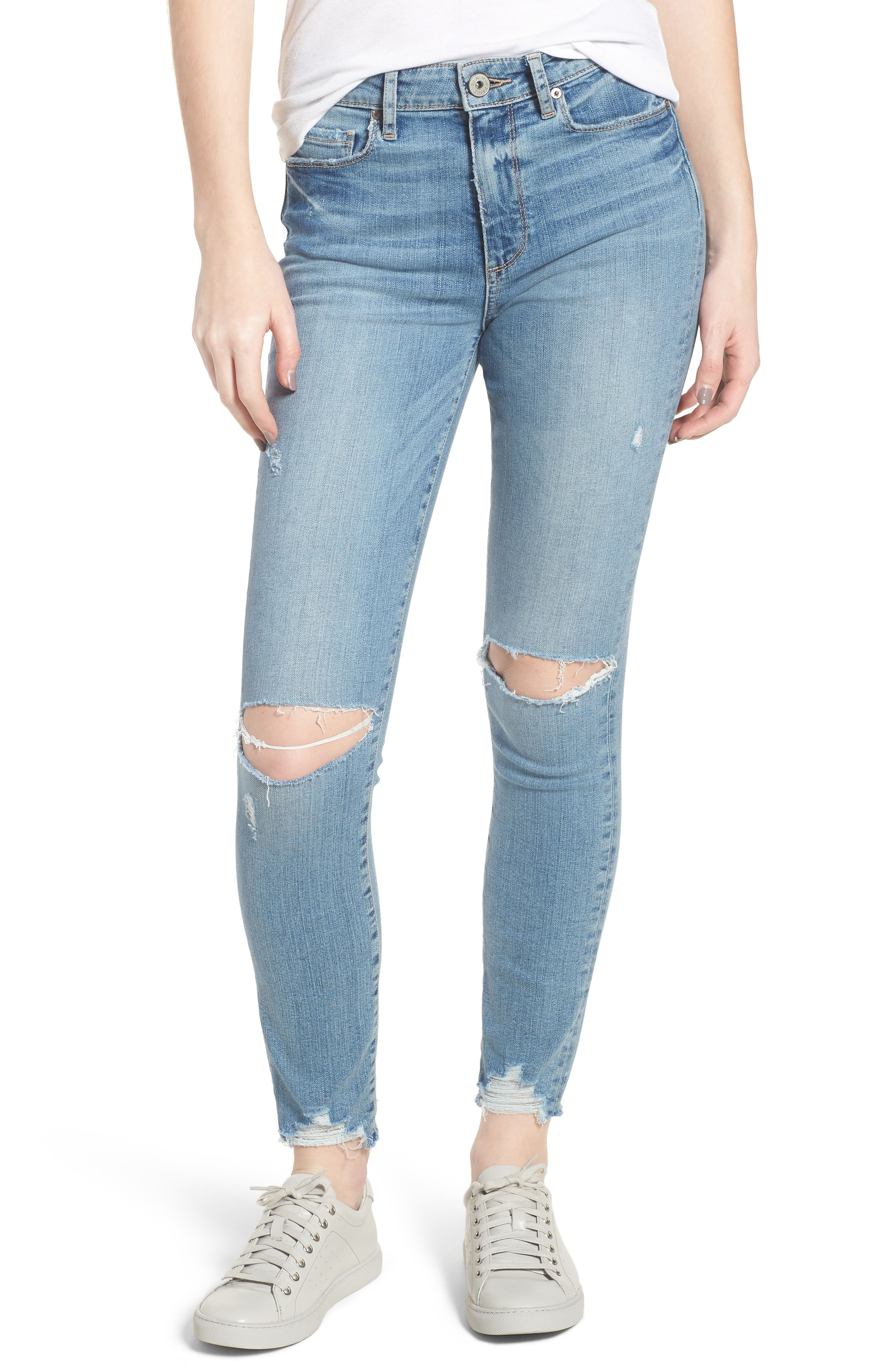 Hoxton High Waist Ankle Skinny Jeans,                             Main thumbnail 1, color,                             Janis Destructed