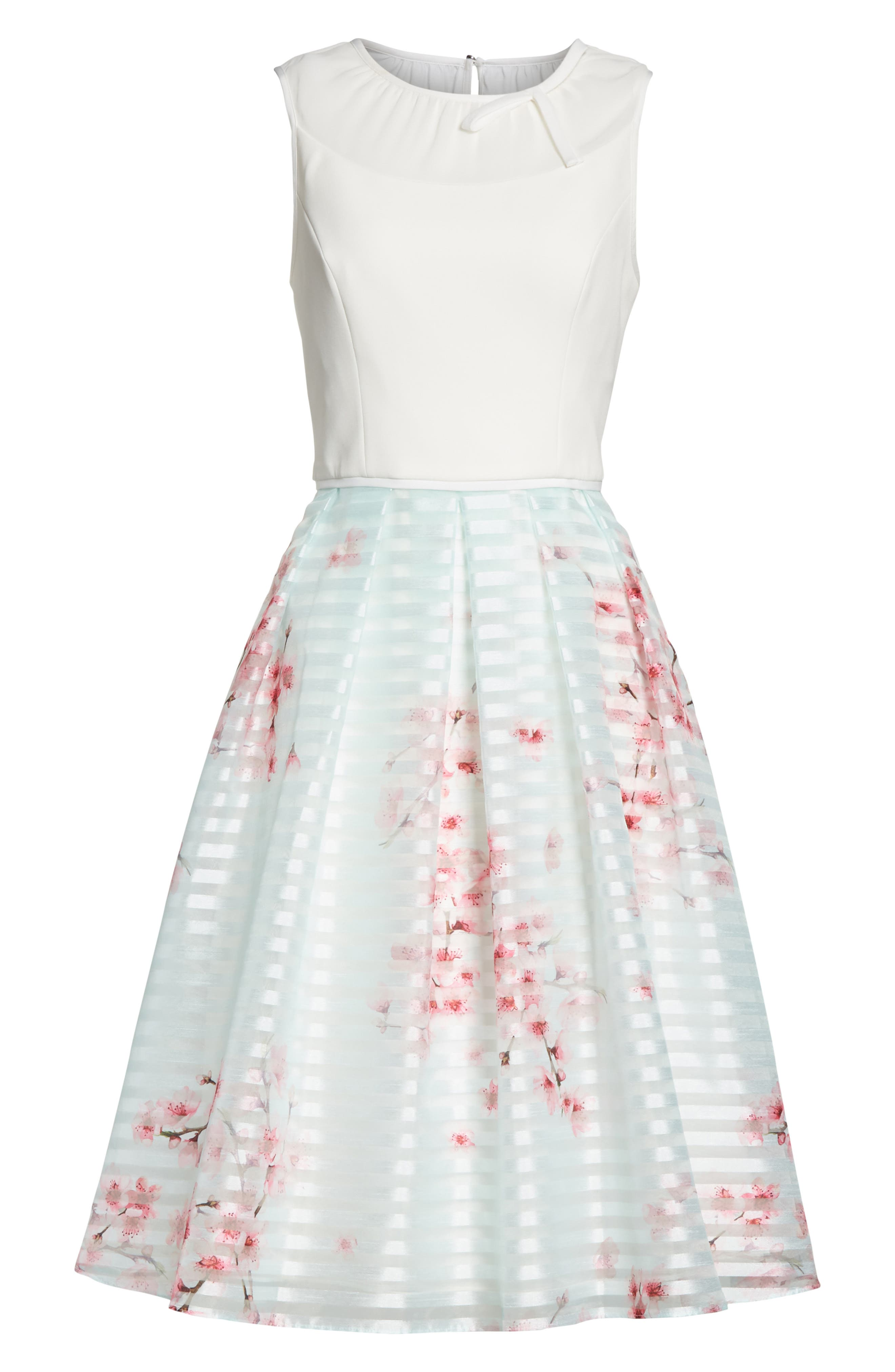 Soft Blossom Fit & Flare Dress,                             Alternate thumbnail 6, color,                             Natural