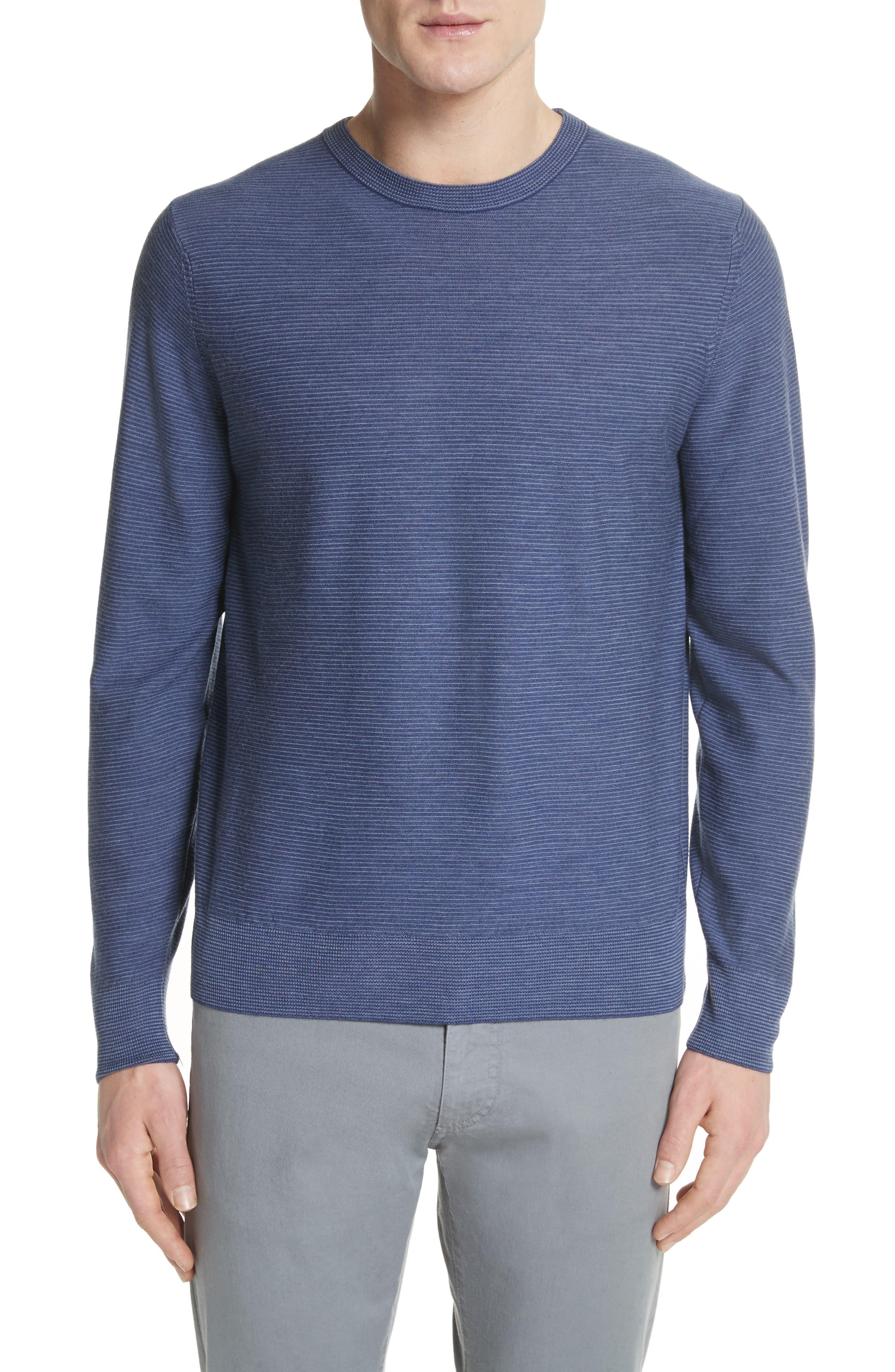 Stripe Crewneck Wool Sweater,                         Main,                         color, Blue