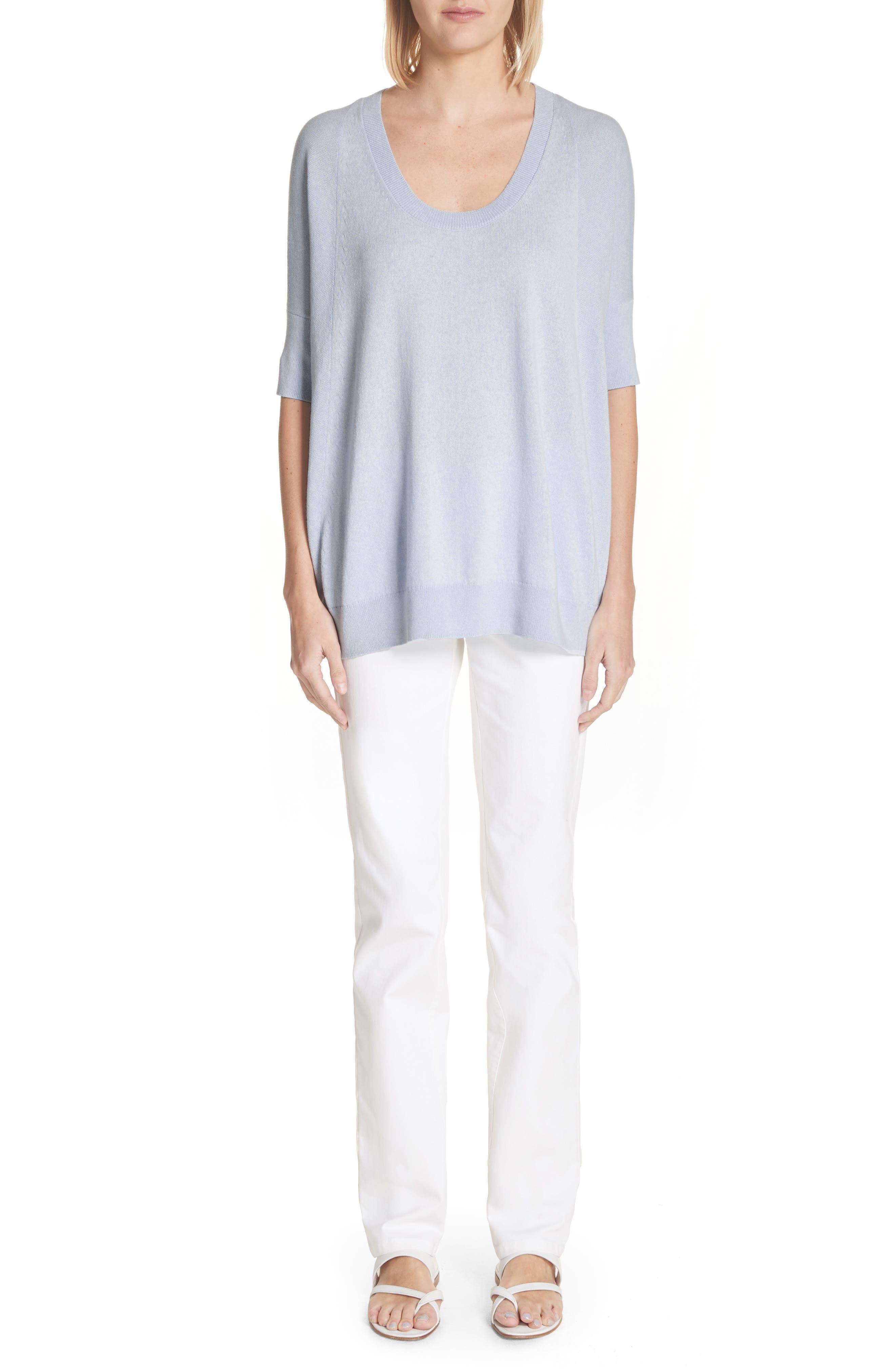 Cotton, Cashmere & Silk Oversized Scoop Neck Sweater,                             Alternate thumbnail 7, color,                             Pale Blue Melange