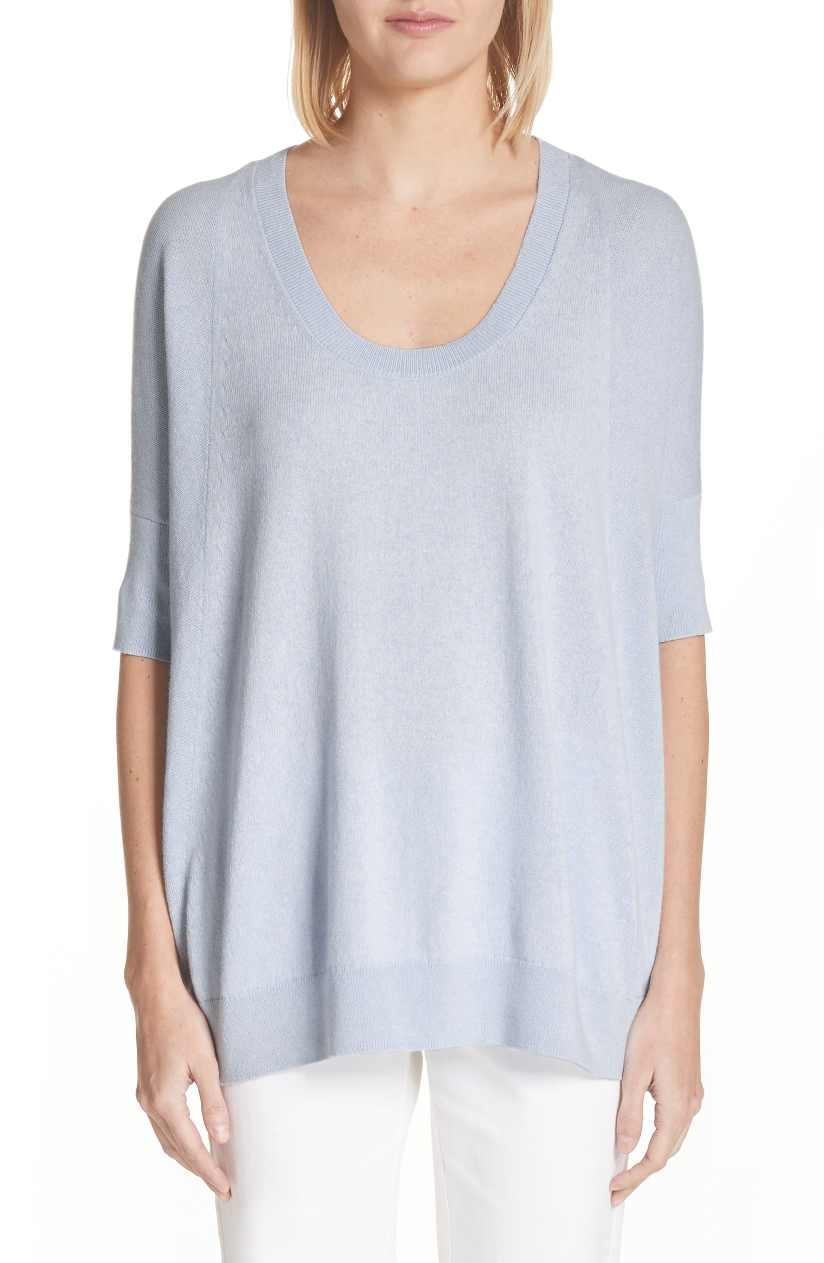 Cotton, Cashmere & Silk Oversized Scoop Neck Sweater,                             Main thumbnail 1, color,                             Pale Blue Melange