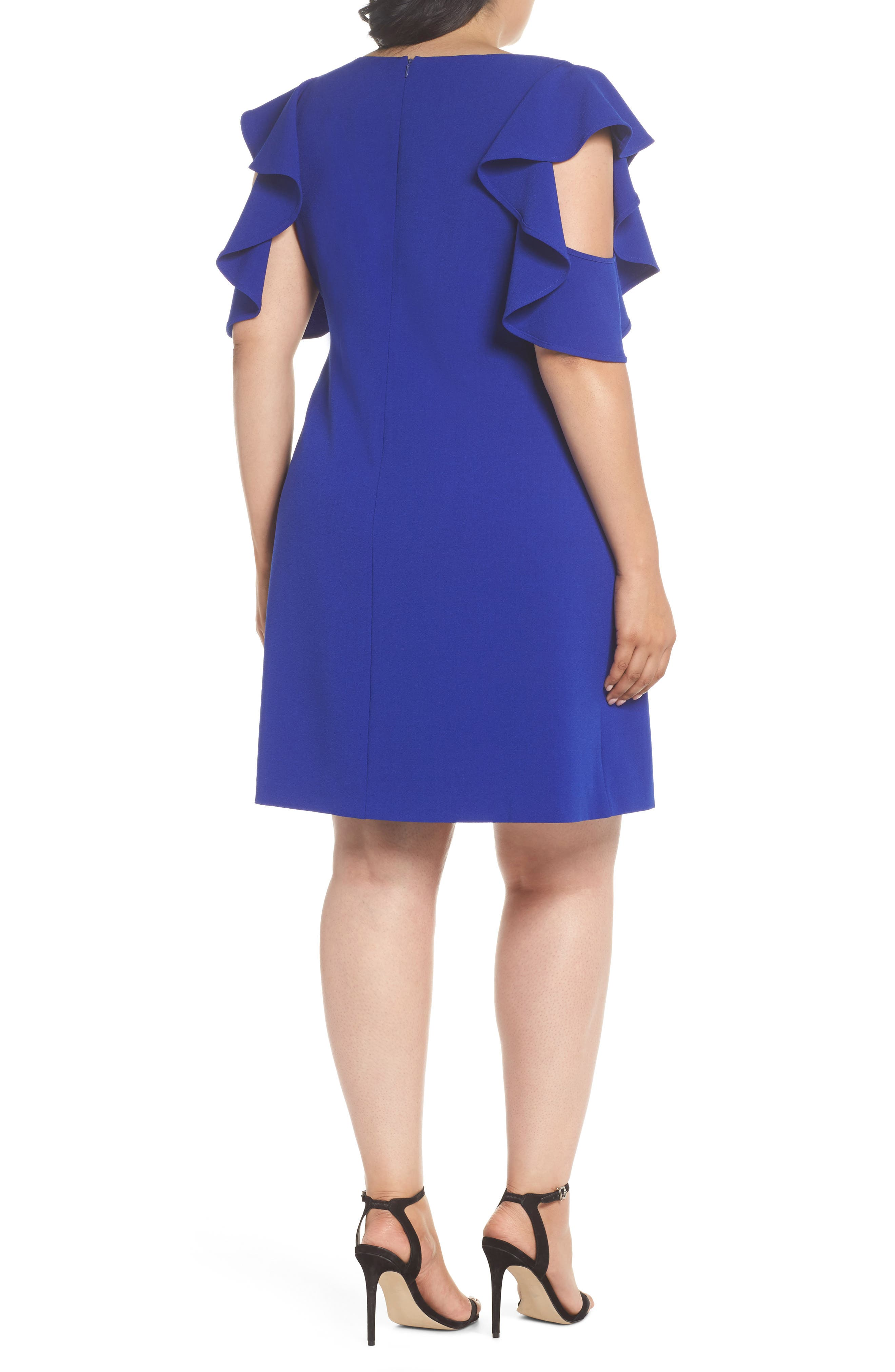 Ruffle Cold Shoulder Shift Dress,                             Alternate thumbnail 2, color,                             Blue Surf