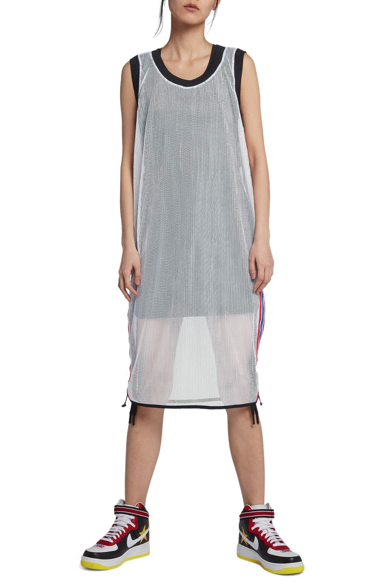 NikeLab x RT Mesh Jersey Dress,                             Main thumbnail 1, color,                             White