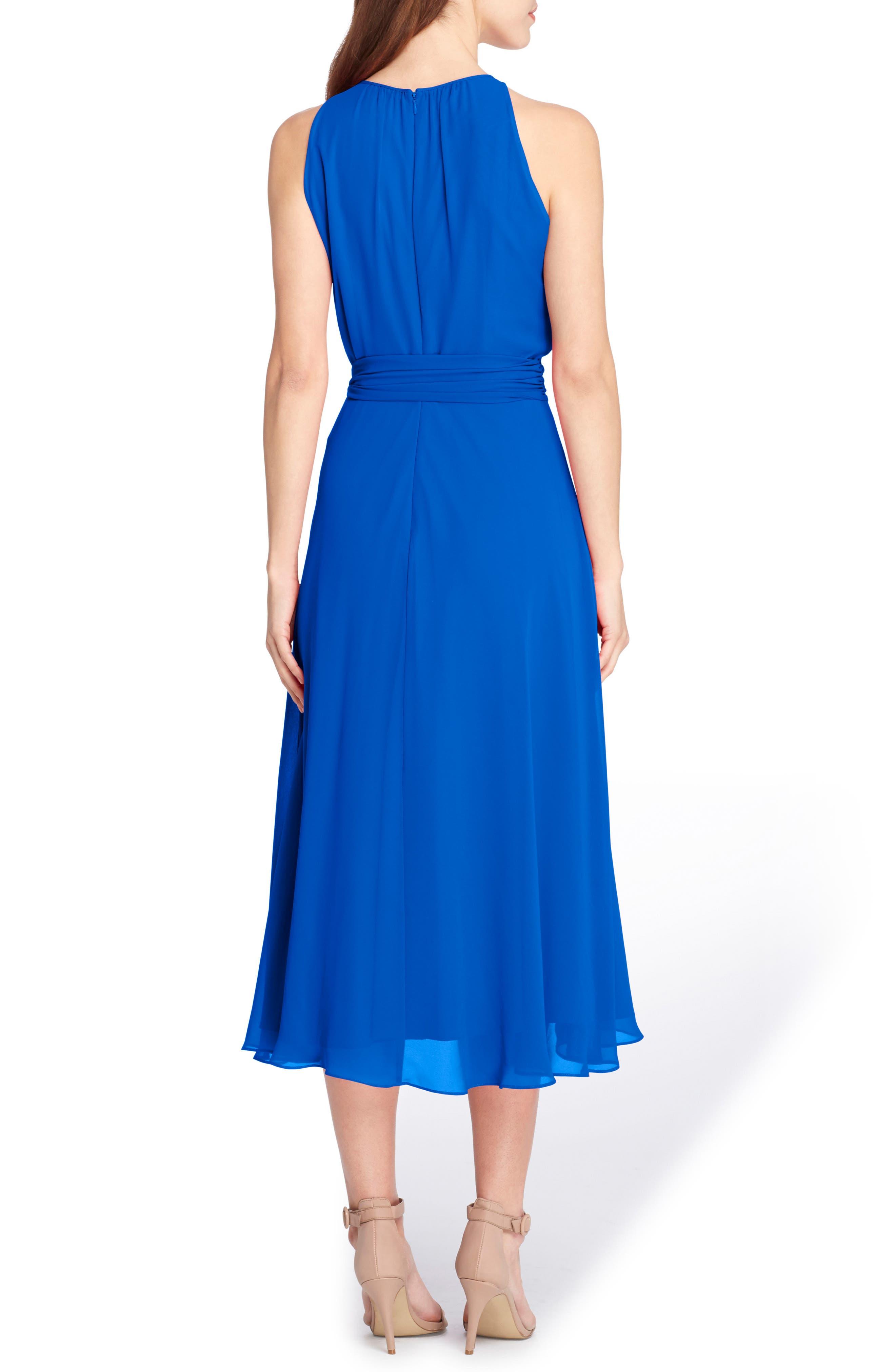 Midi Fit & Flare Dress,                             Alternate thumbnail 2, color,                             Neon Royal
