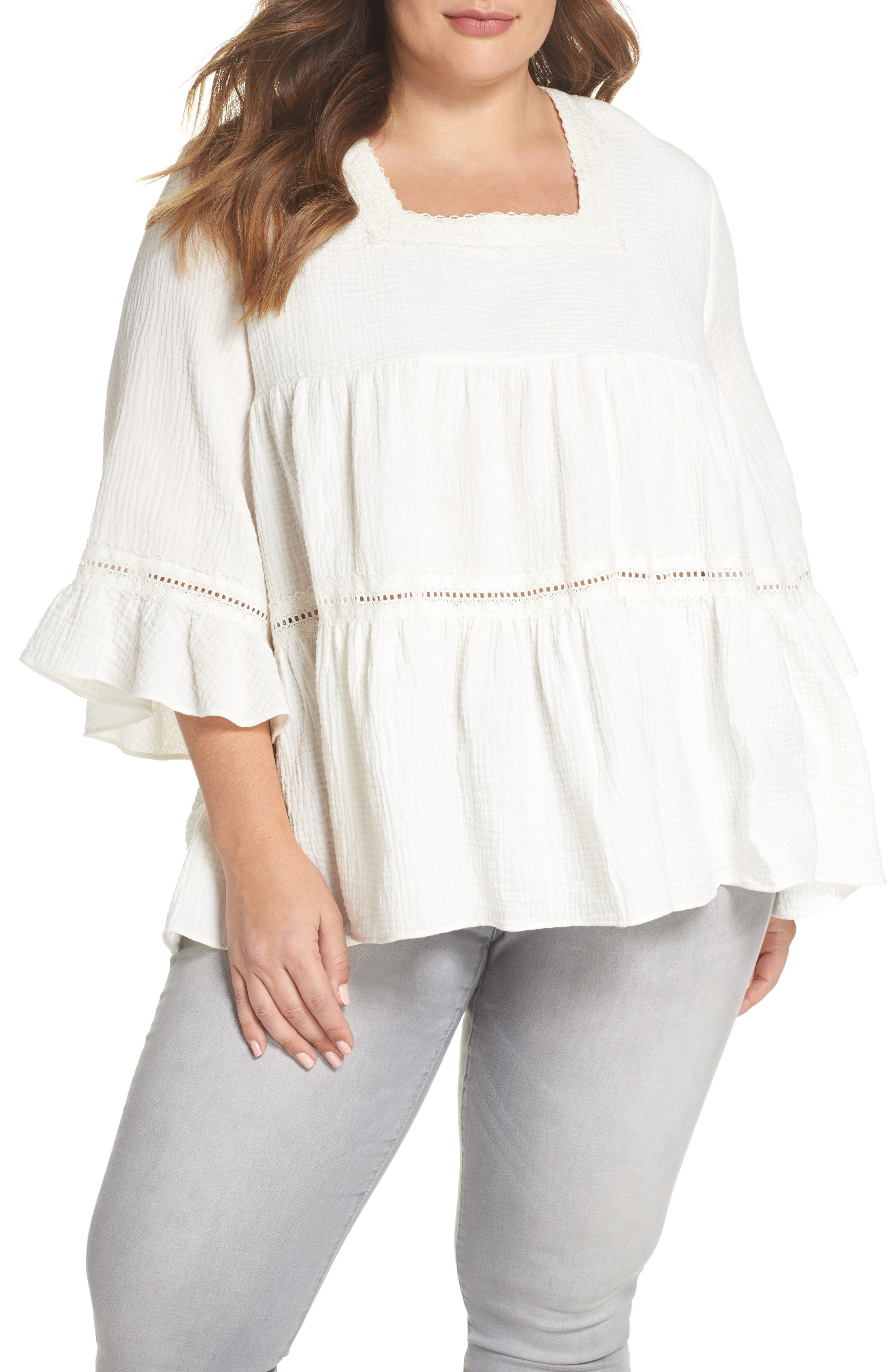 Lace Trim Gathered Top,                         Main,                         color, Ivory Cloud
