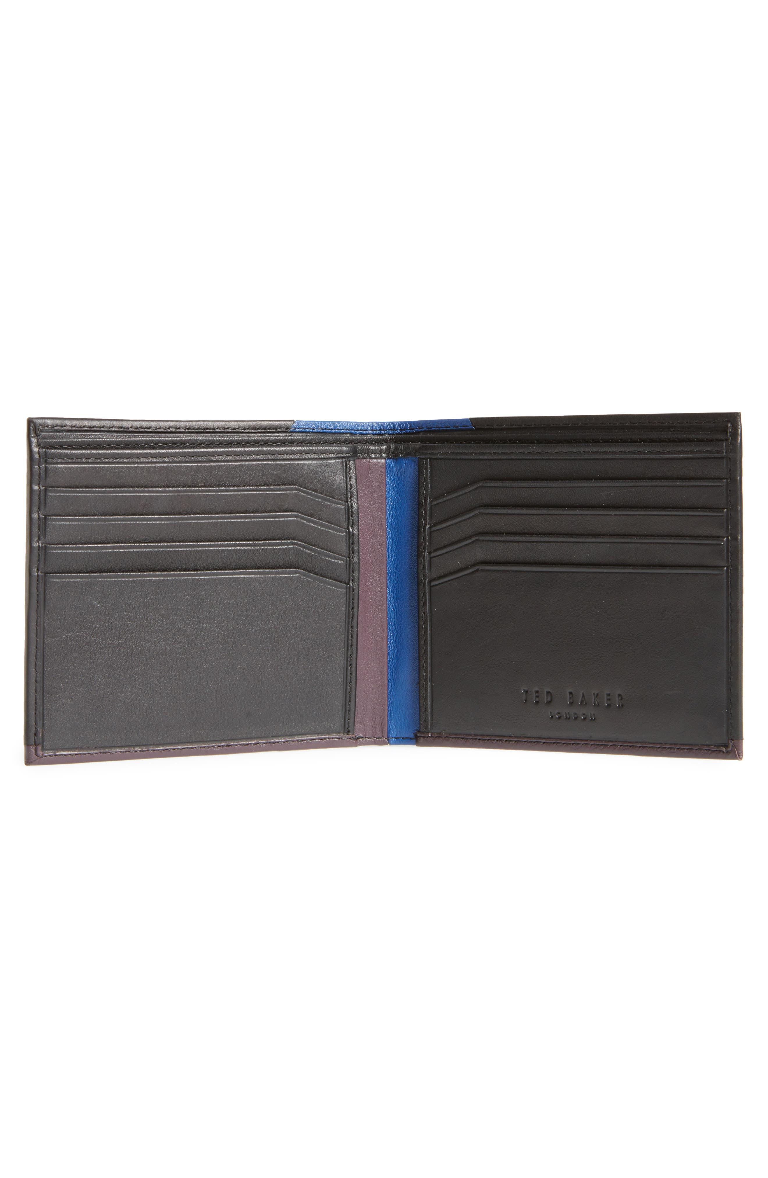 Baldi Corner Detail Leather Wallet,                             Alternate thumbnail 2, color,                             Black
