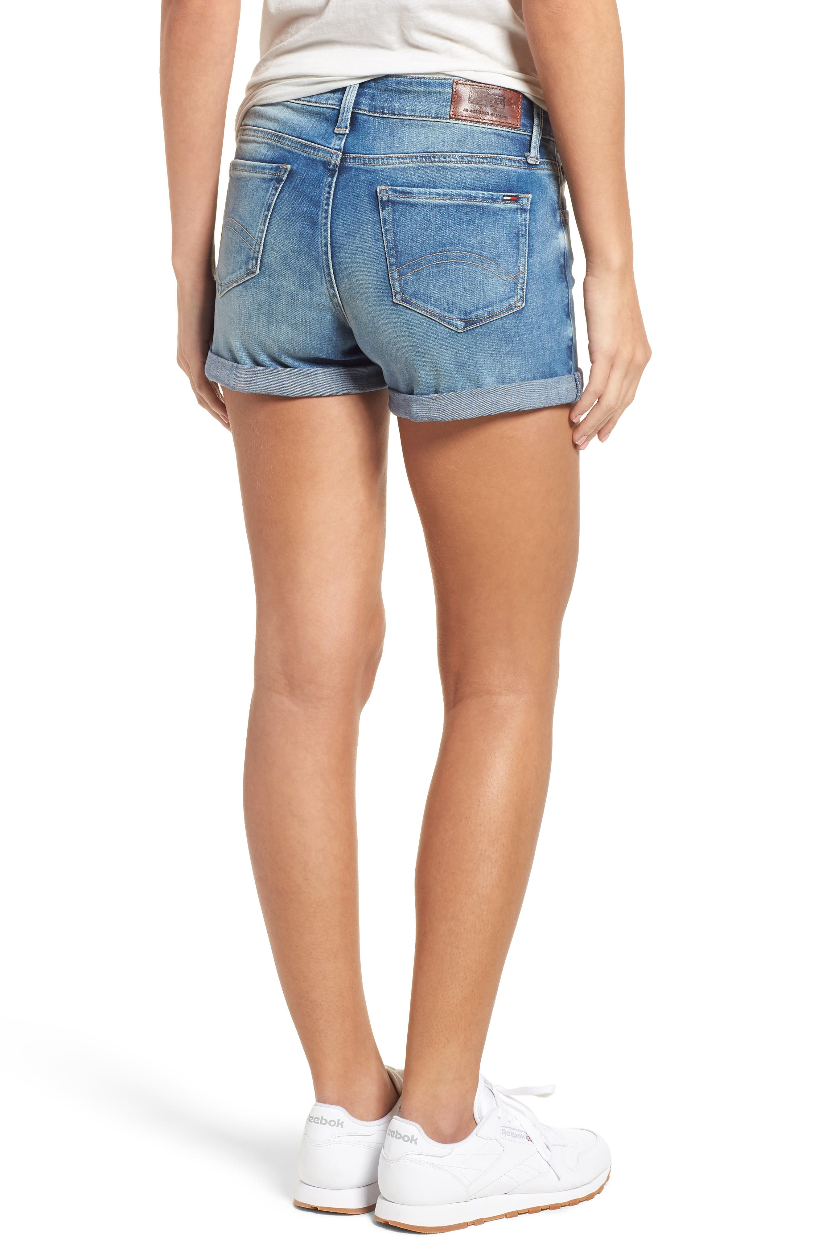 Cuffed Denim Shorts,                             Alternate thumbnail 2, color,                             Florida Light Blue Stretch
