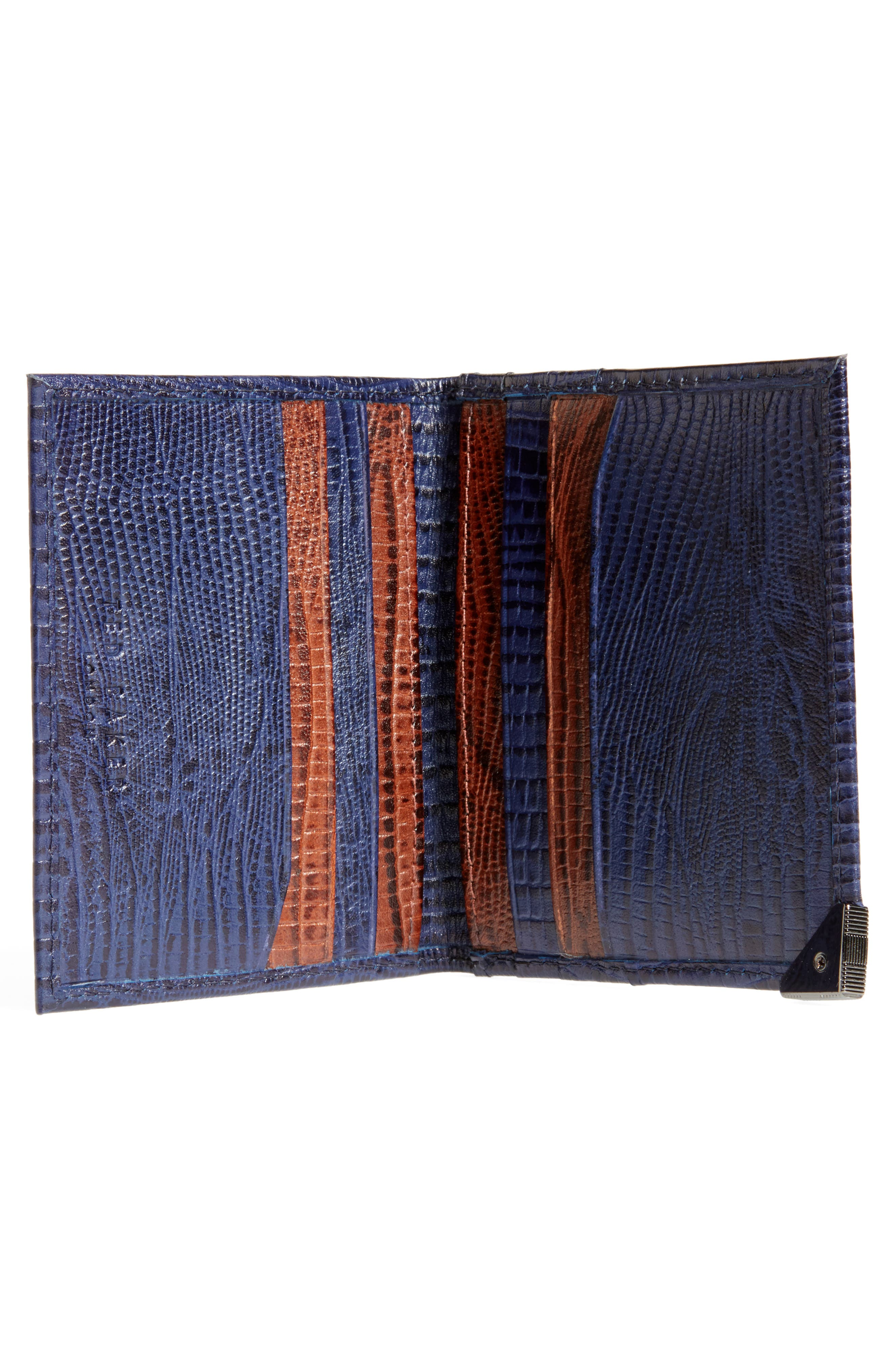 Liztay Lizard Embossed Leather Foldover Card Case,                             Alternate thumbnail 2, color,                             Navy