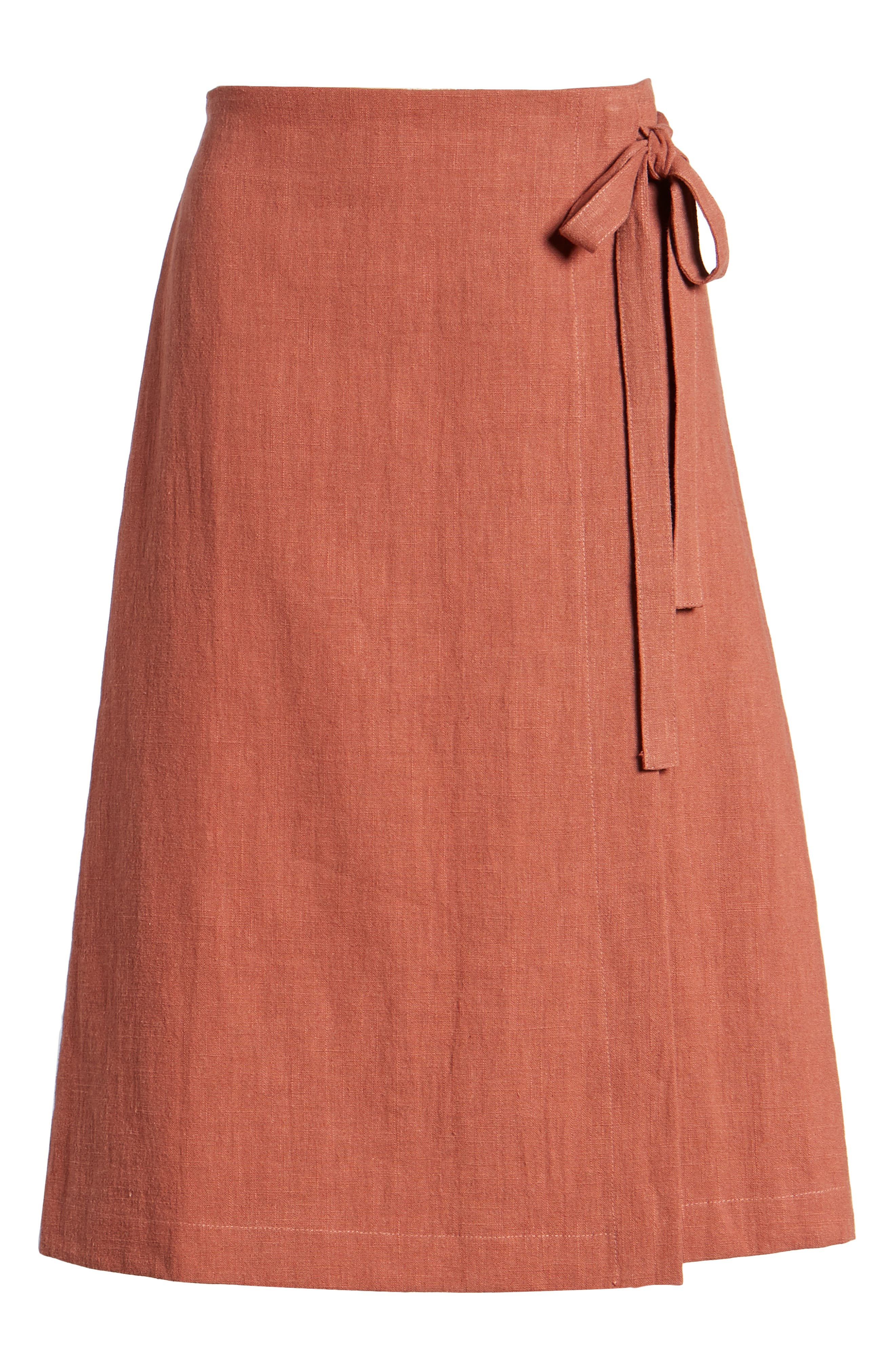 Wrap A-Line Skirt,                             Alternate thumbnail 7, color,                             Rust