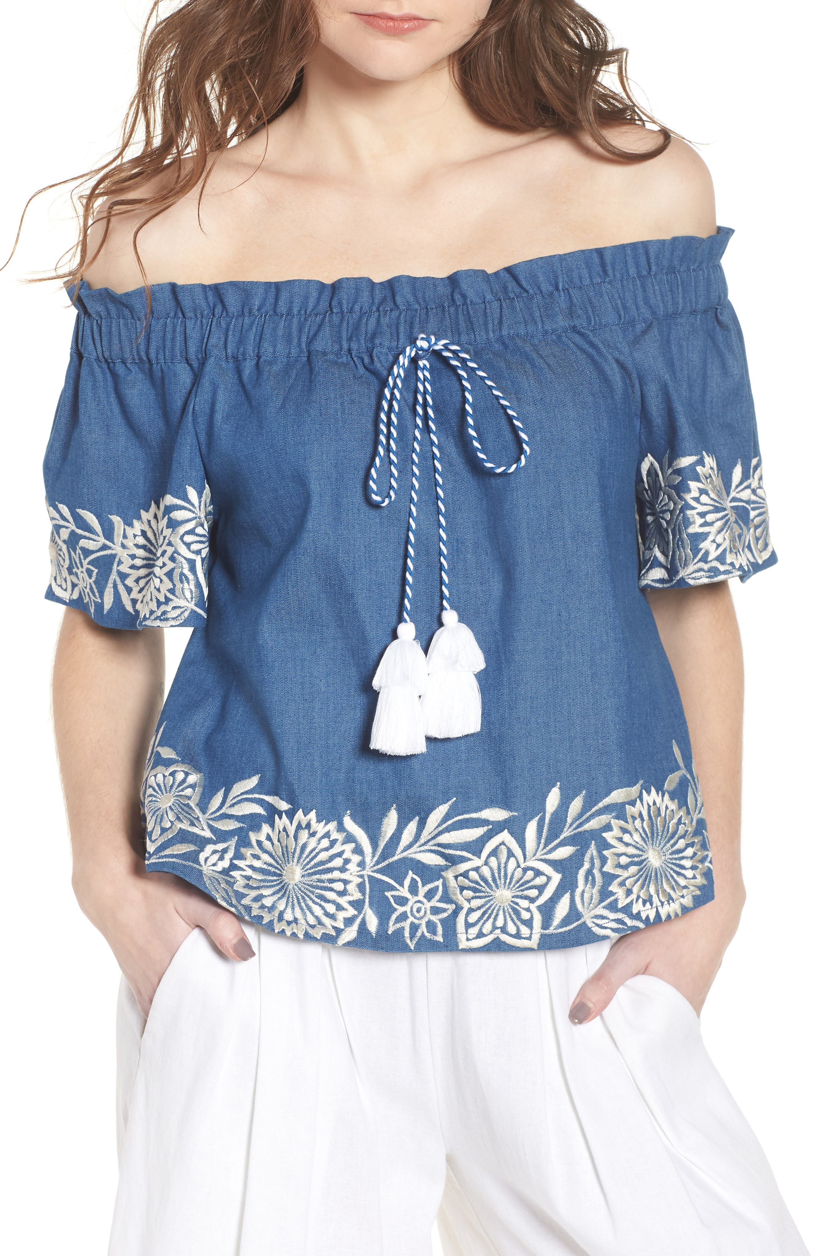 Nisi Embroidered Off the Shoulder Top,                             Main thumbnail 1, color,                             Blue
