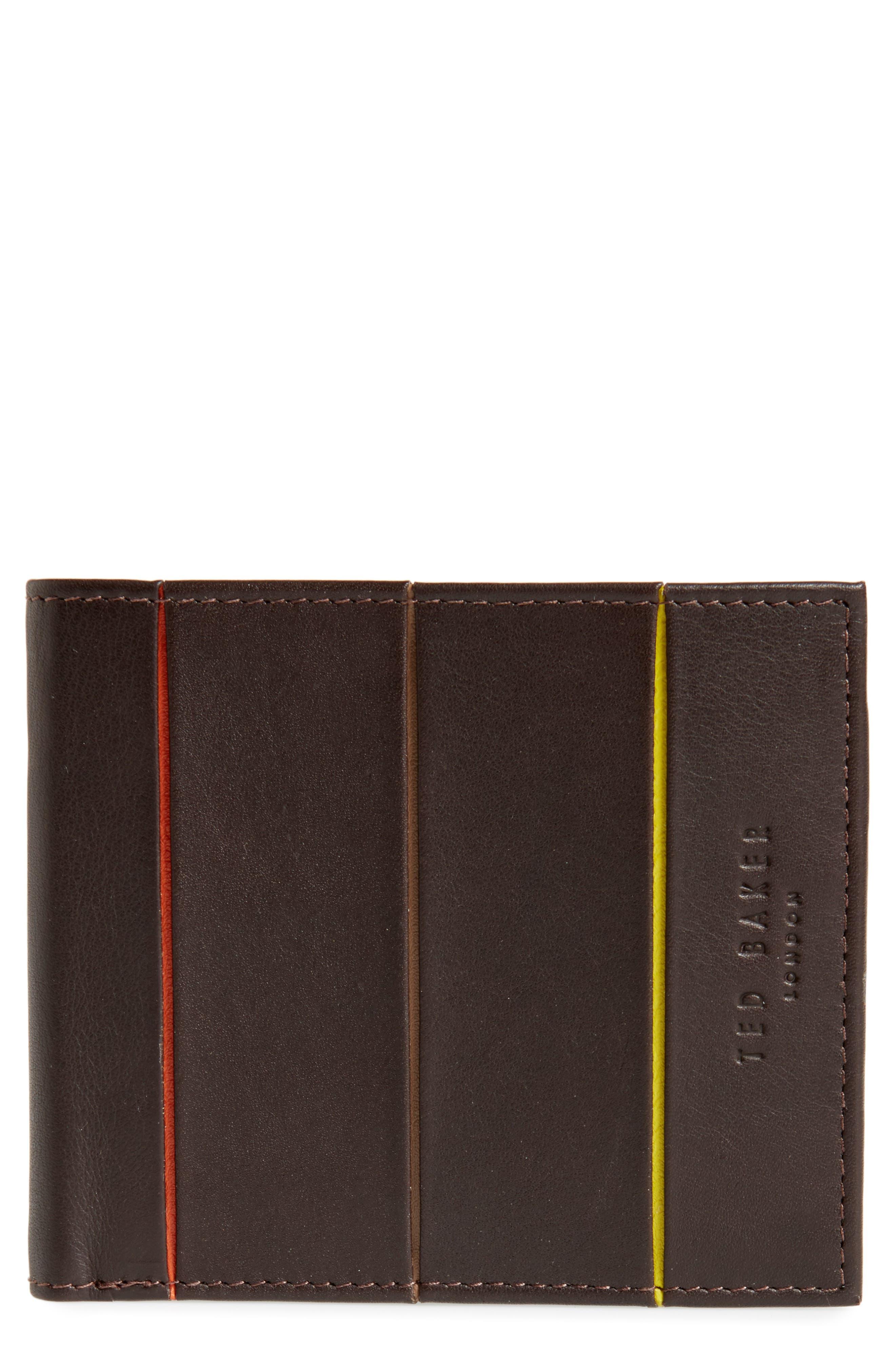 Bourbon Stripe Leather Billfold,                         Main,                         color, Chocolate