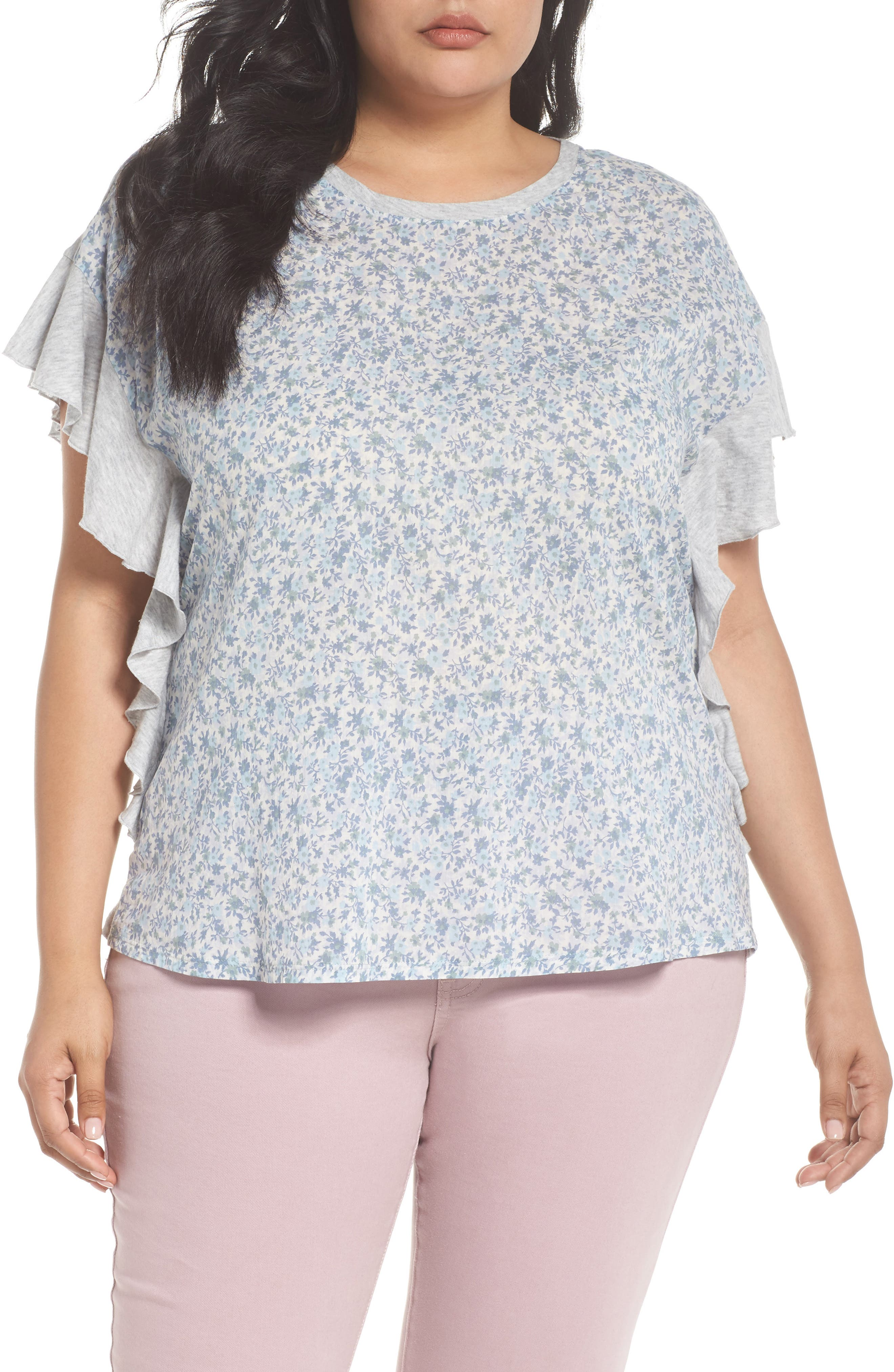 Vince Camuto Whisper Ruffle Sleeve Top (Plus Size)