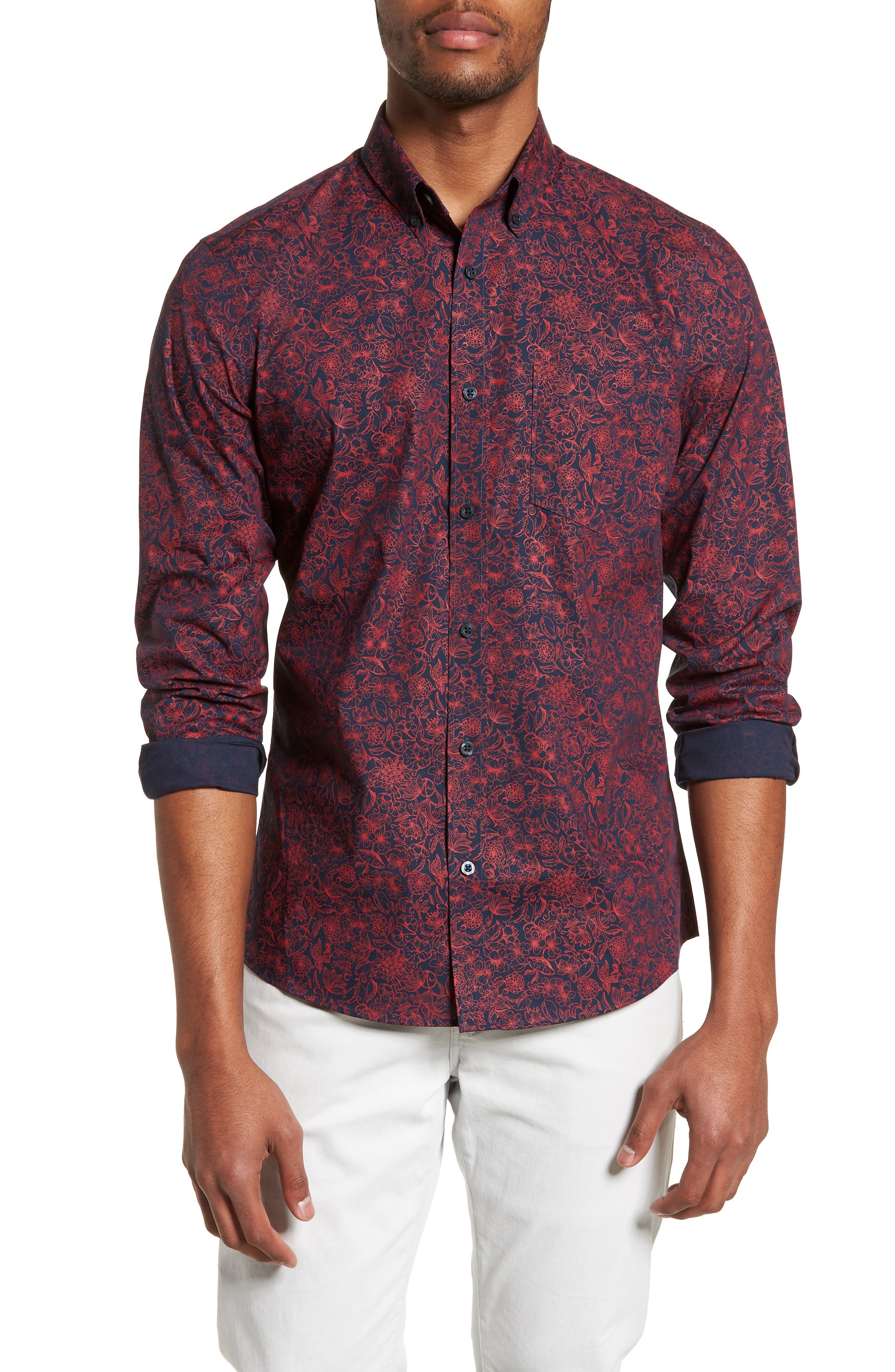 Trim Fit Non-Iron Floral Sport Shirt,                         Main,                         color, Navy Iris Red Bloom