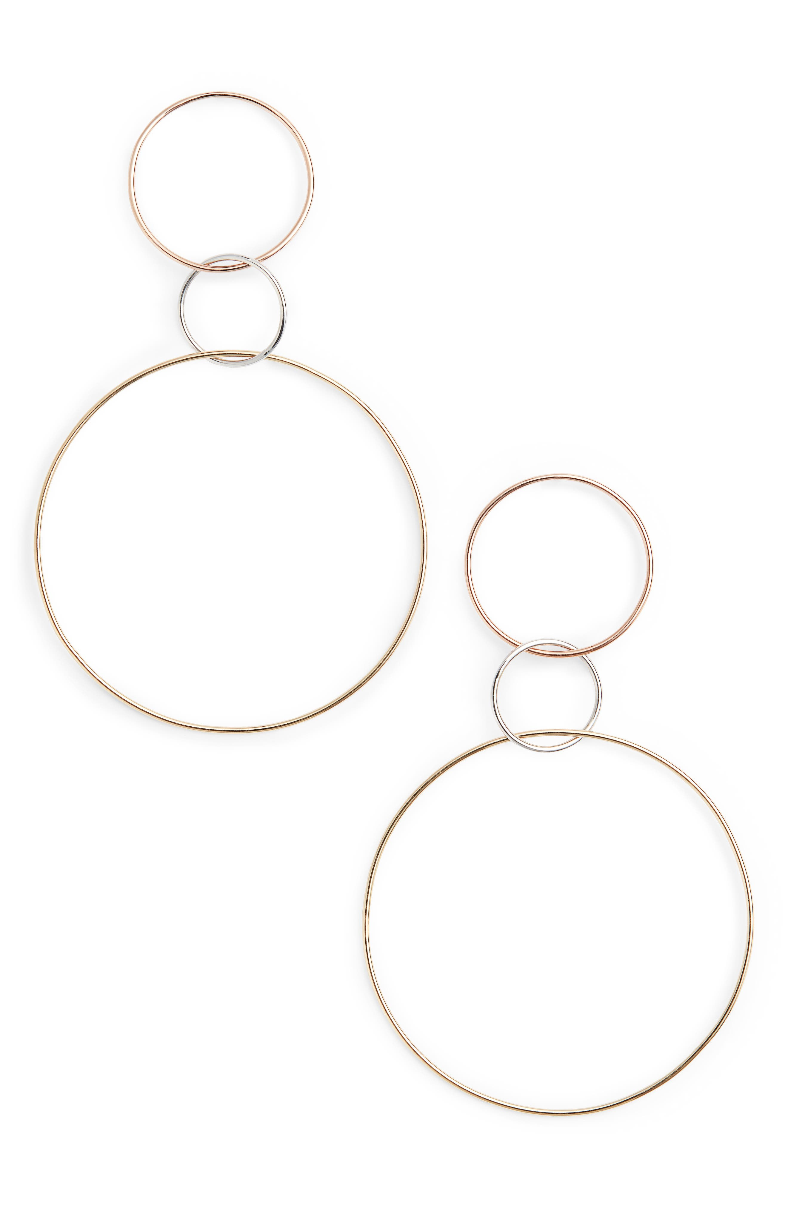Tri-Tone Three Hoop Wire Drop Earrings,                         Main,                         color, Three Tone Mix