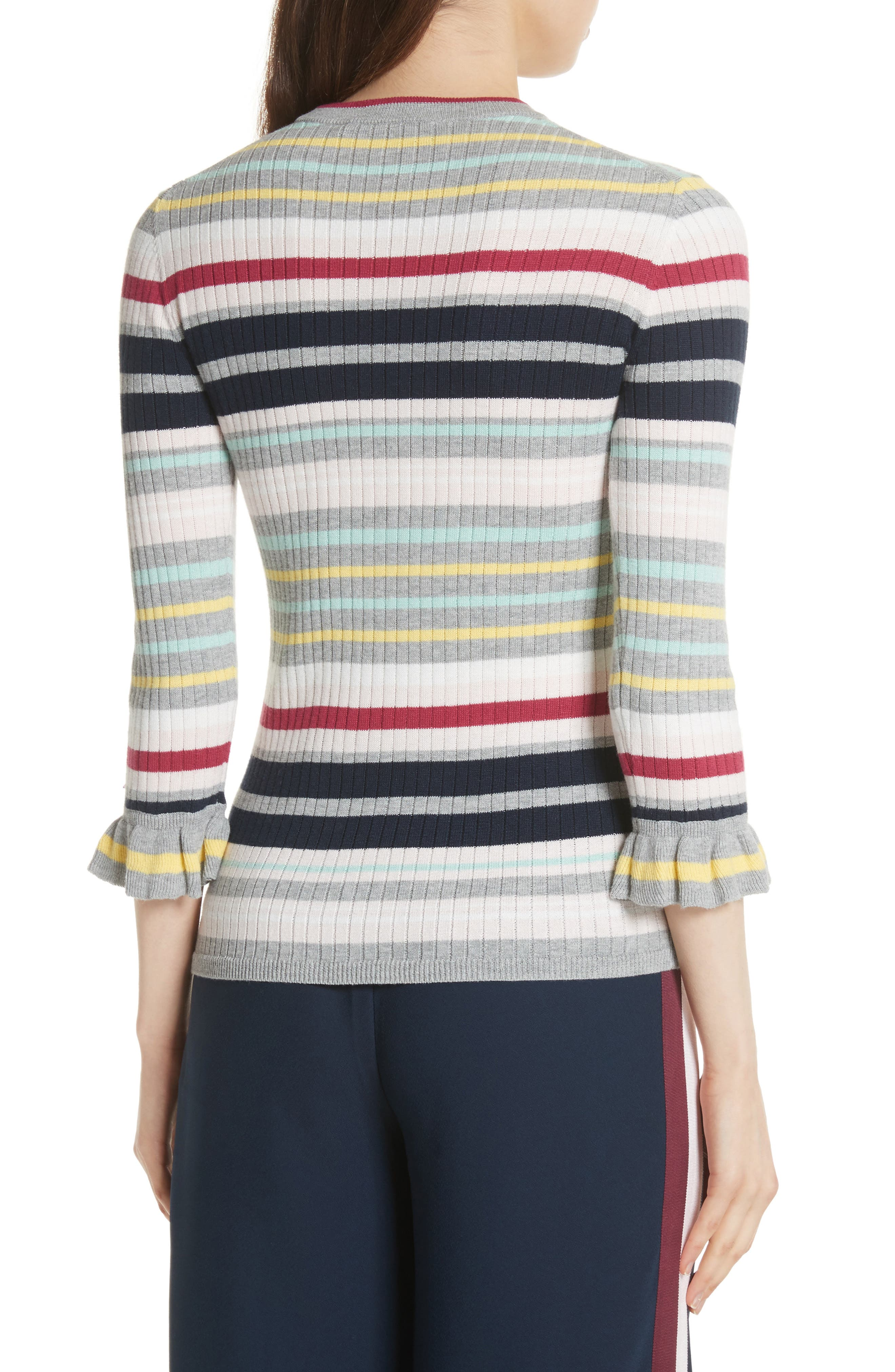 Colour by Numbers Stripe Top,                             Alternate thumbnail 2, color,                             Grey