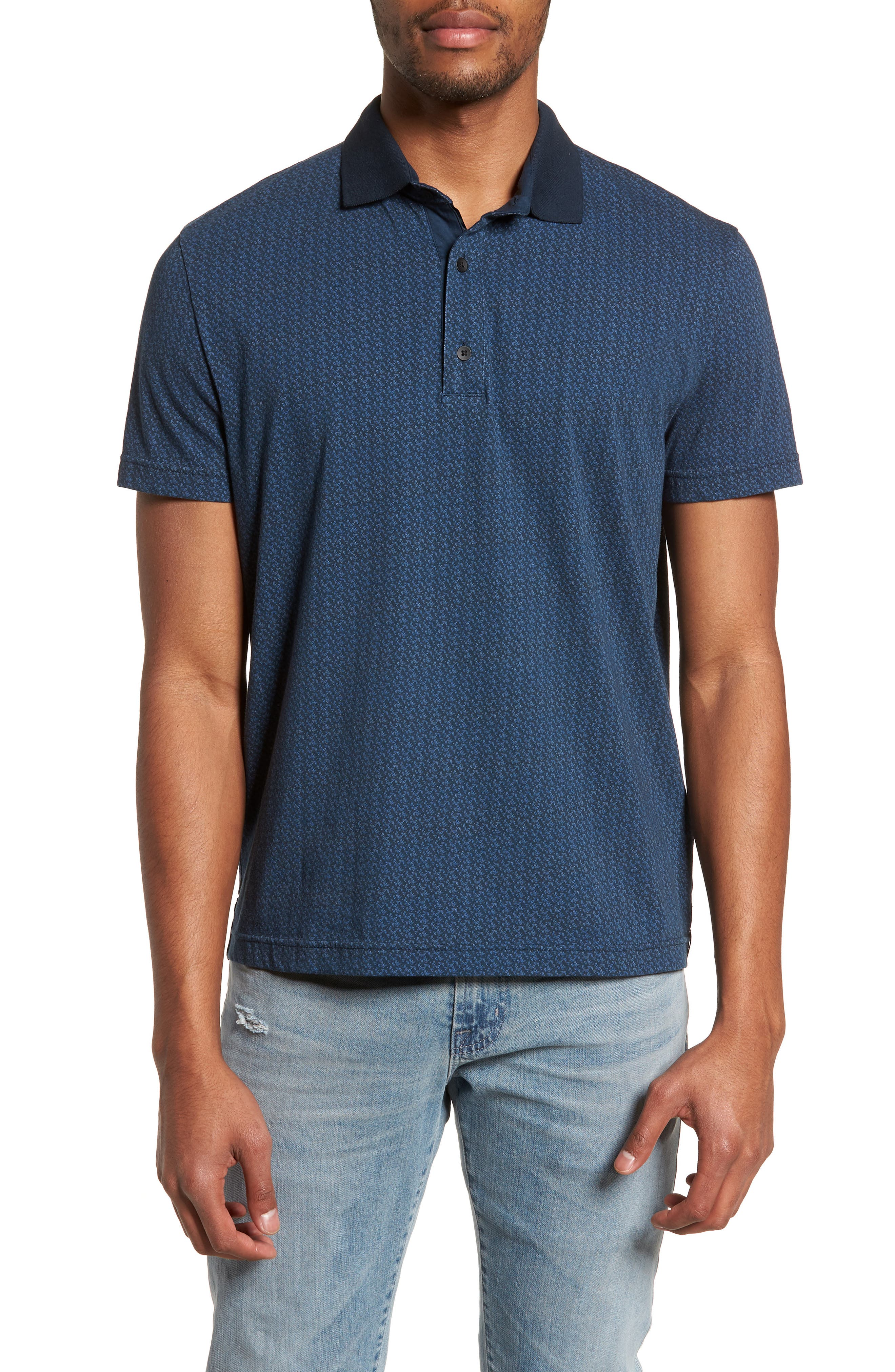 Reworked Slim Fit Leaf Print Polo,                         Main,                         color, Navy