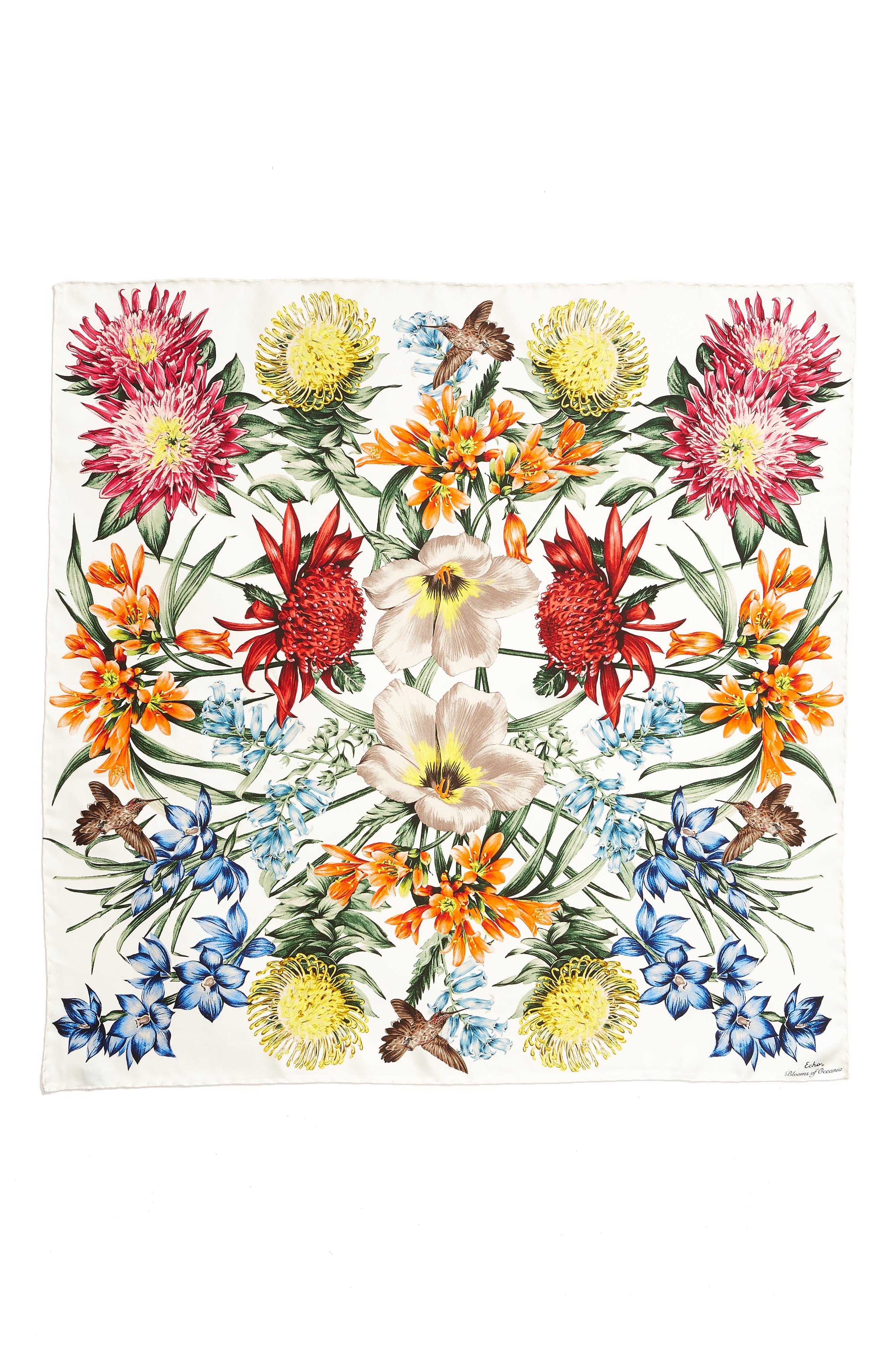 Alternate Image 3  - Echo Blooms of Oceania Square Silk Scarf