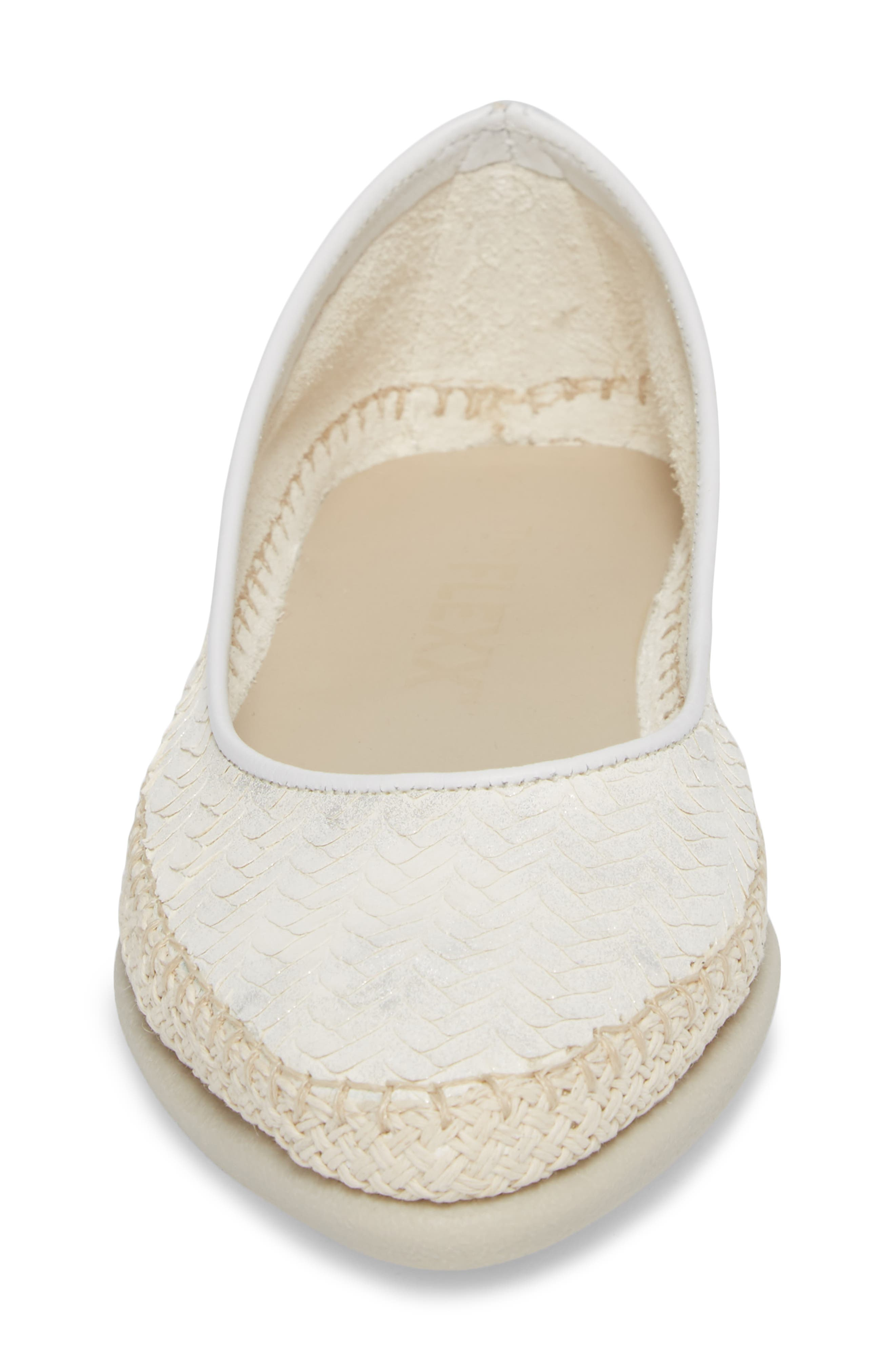 'Torri' Perforated Espadrille Flat,                             Alternate thumbnail 6, color,                             Pearl Leather