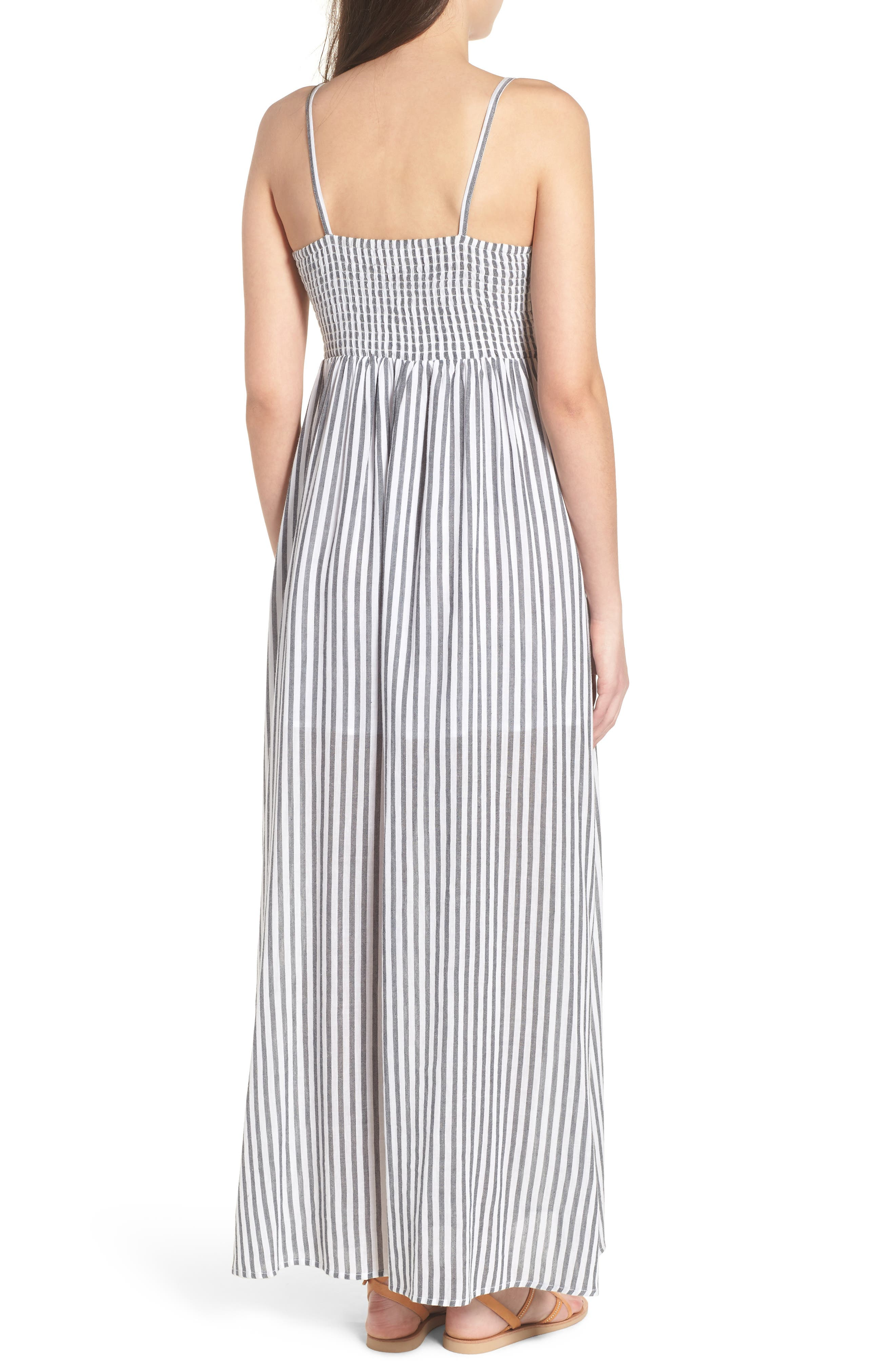 Stripe Button Front Maxi Dress,                             Alternate thumbnail 2, color,                             White City Stripe