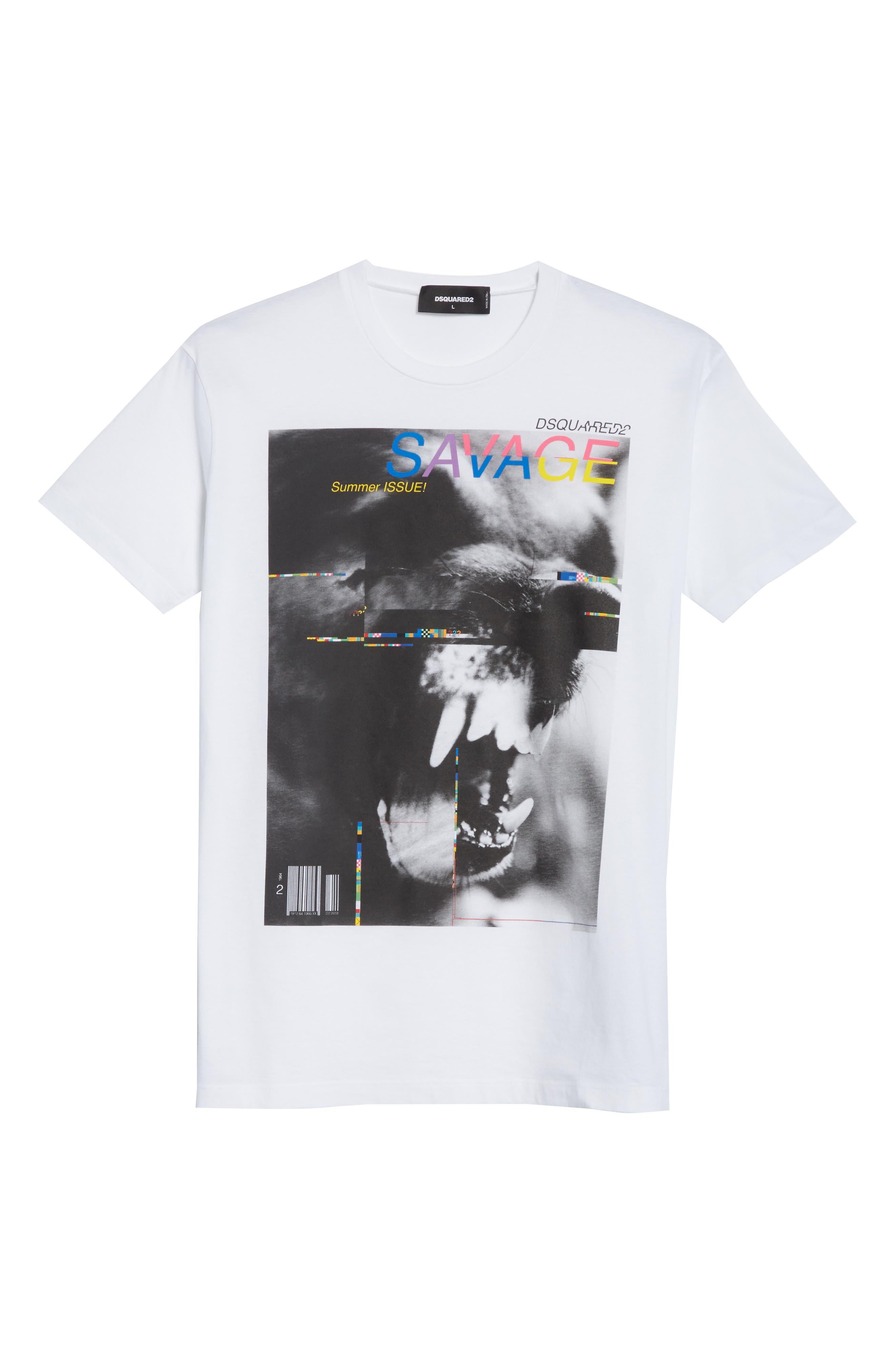 Savage Graphic T-Shirt,                             Alternate thumbnail 6, color,                             White