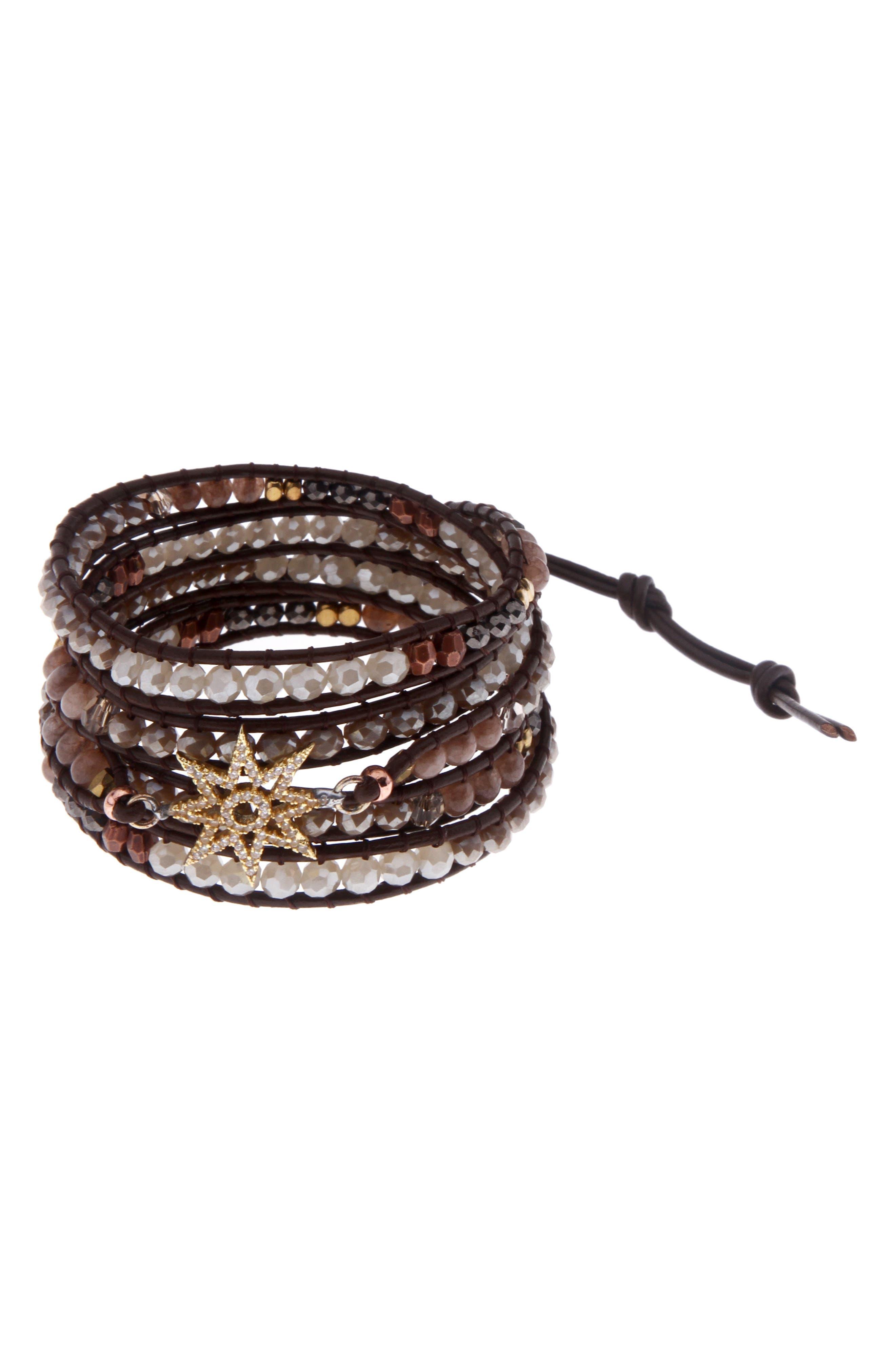 Crystal Charm Wrap Bracelet,                         Main,                         color, Brown