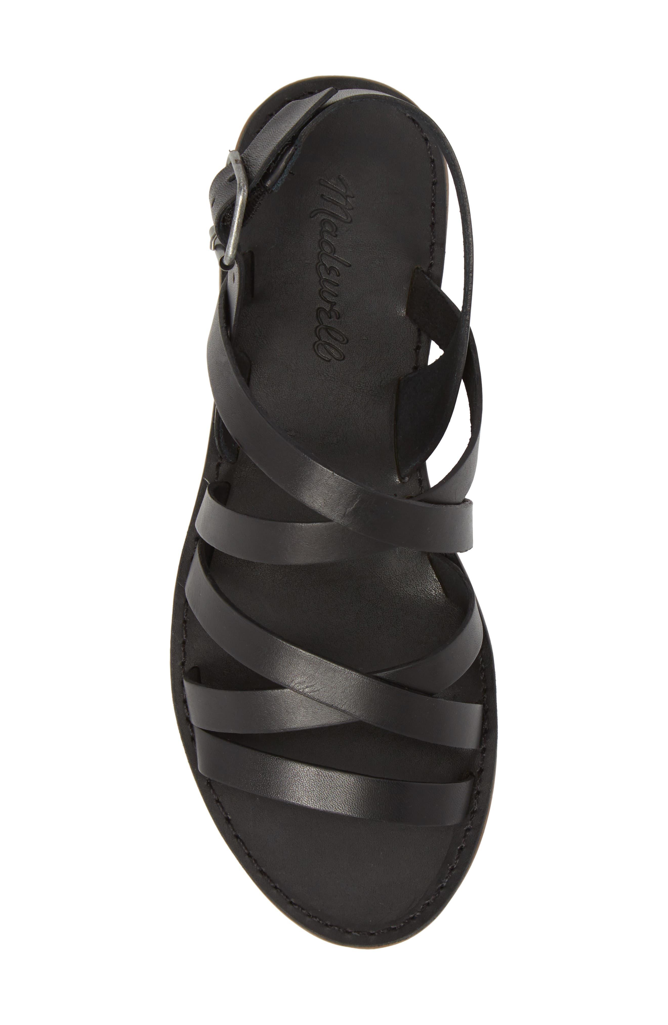 The Boardwalk Multistrap Sandal,                             Alternate thumbnail 5, color,                             True Black Leather