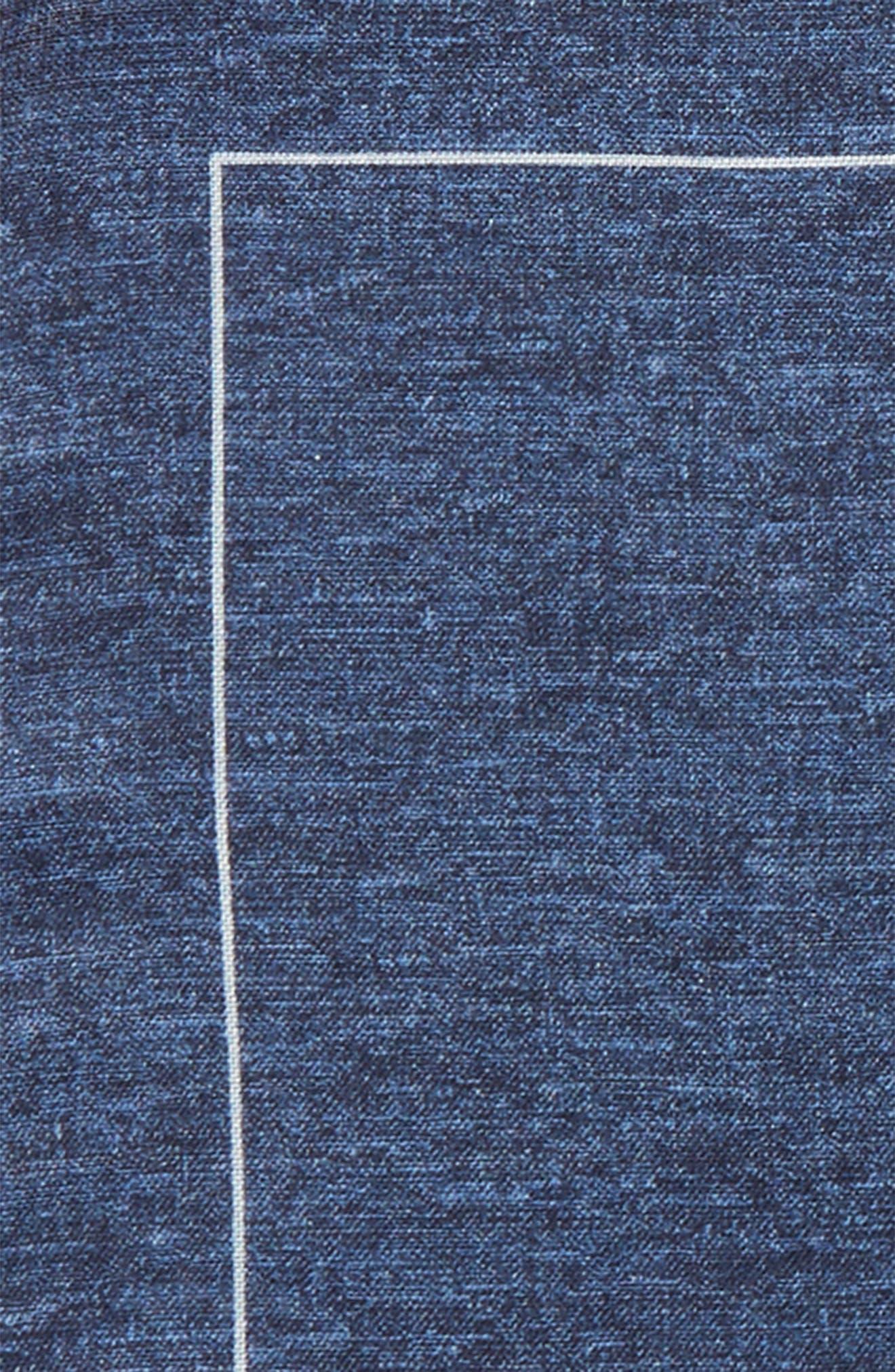 Denim Print Silk Pocket Square,                             Alternate thumbnail 3, color,                             Denim