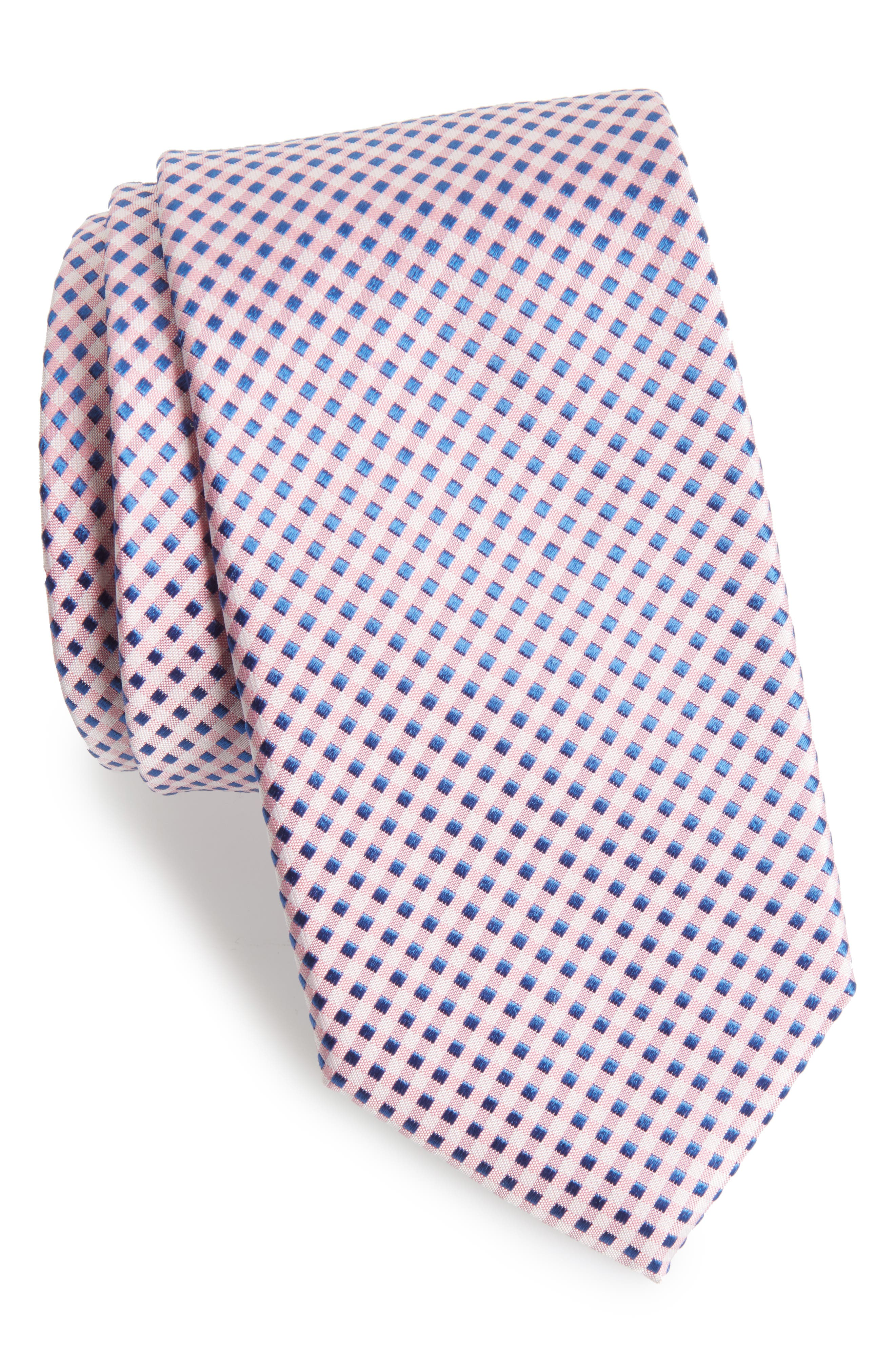 Grid Silk Tie,                         Main,                         color, Pink