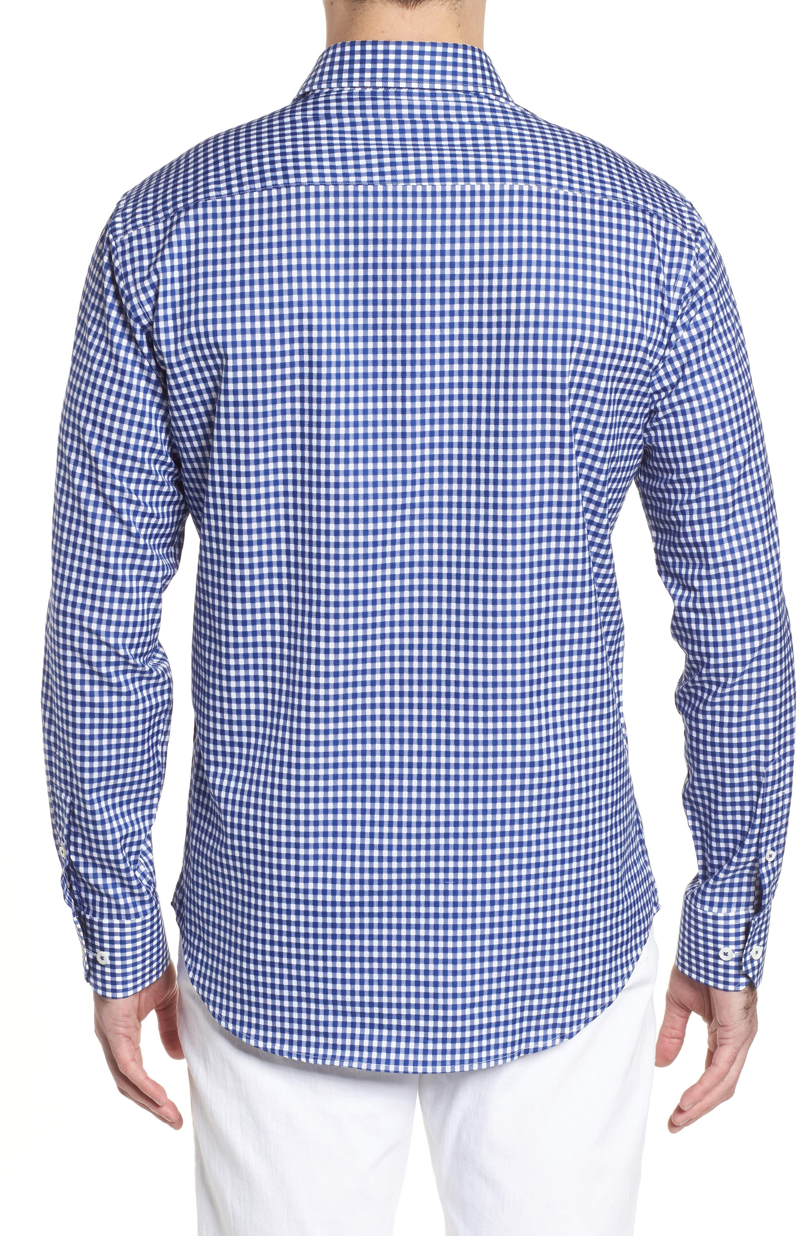 Shaped Fit Check Sport Shirt,                             Alternate thumbnail 2, color,                             Navy