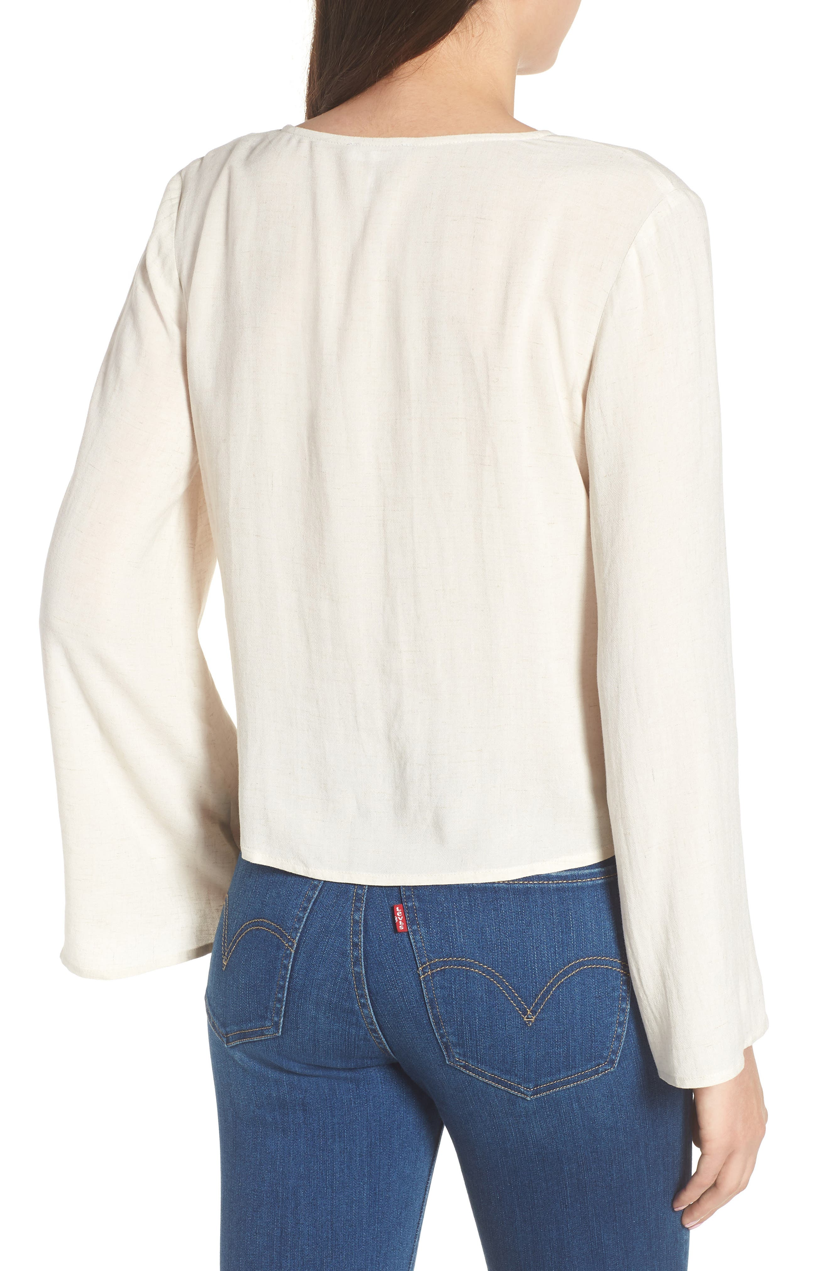 Ruched Front Top,                             Alternate thumbnail 2, color,                             Beige Oatmeal Heather