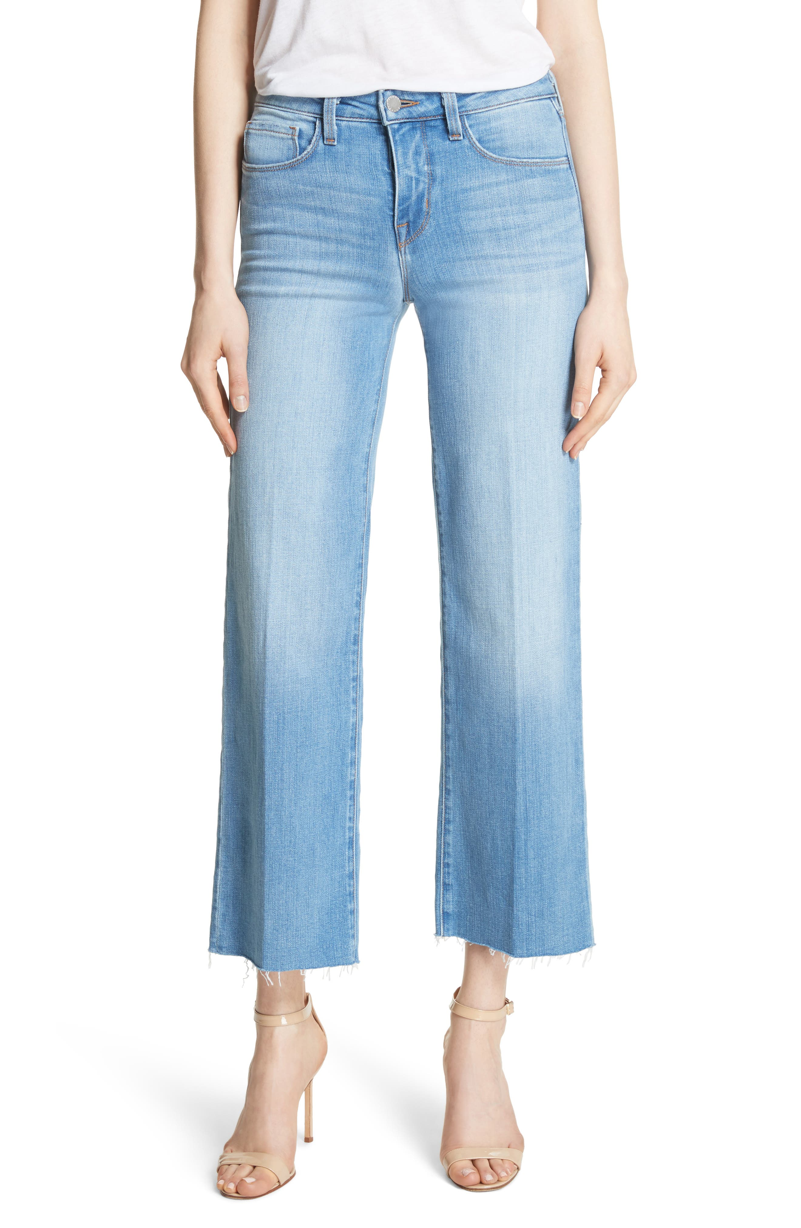 L'AGENCE Danica Crop Wide Leg Jeans (Lake Blue)