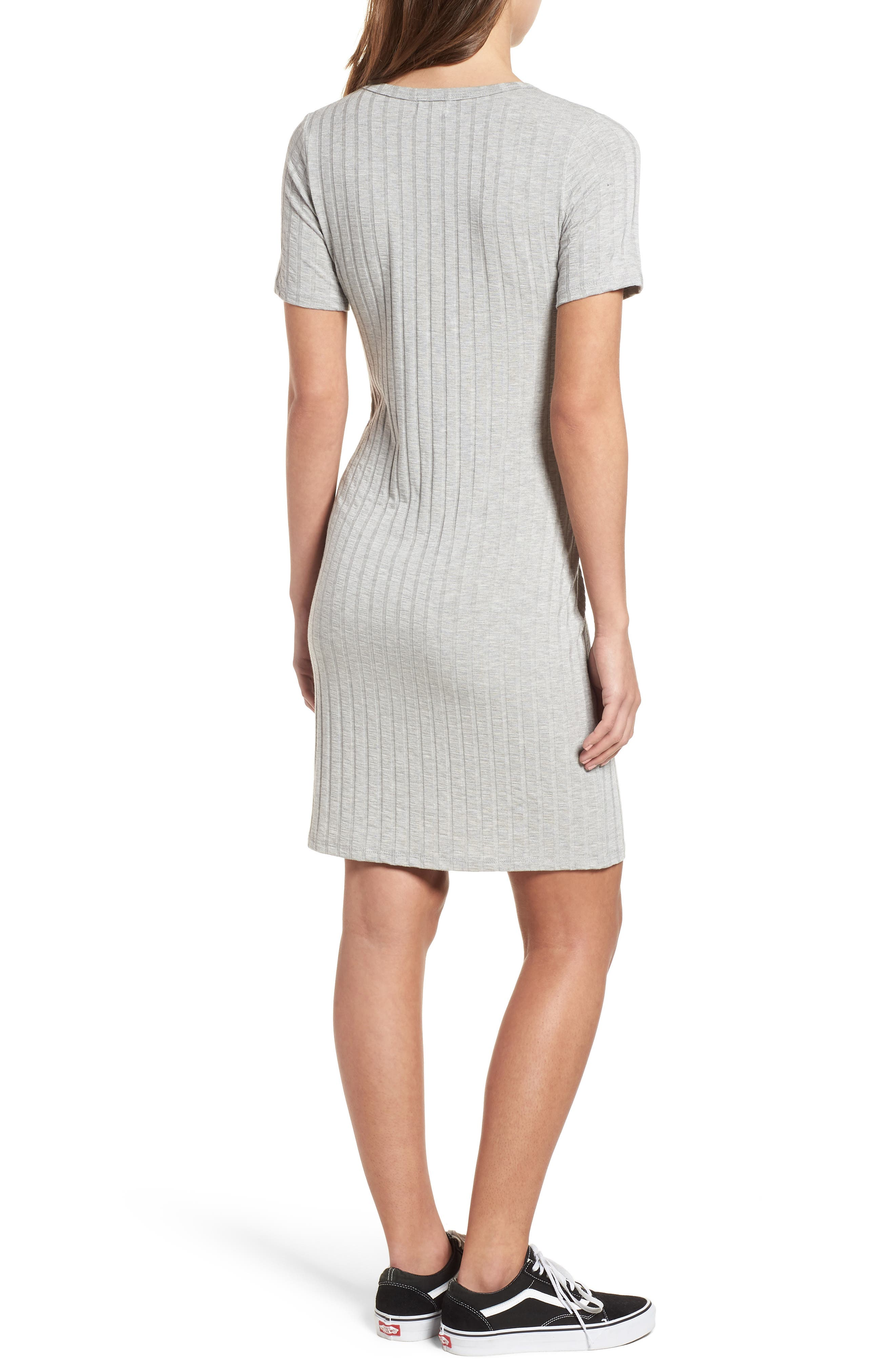 Project Social T Ribbed Body-Con Dress,                             Alternate thumbnail 2, color,                             Heather Grey