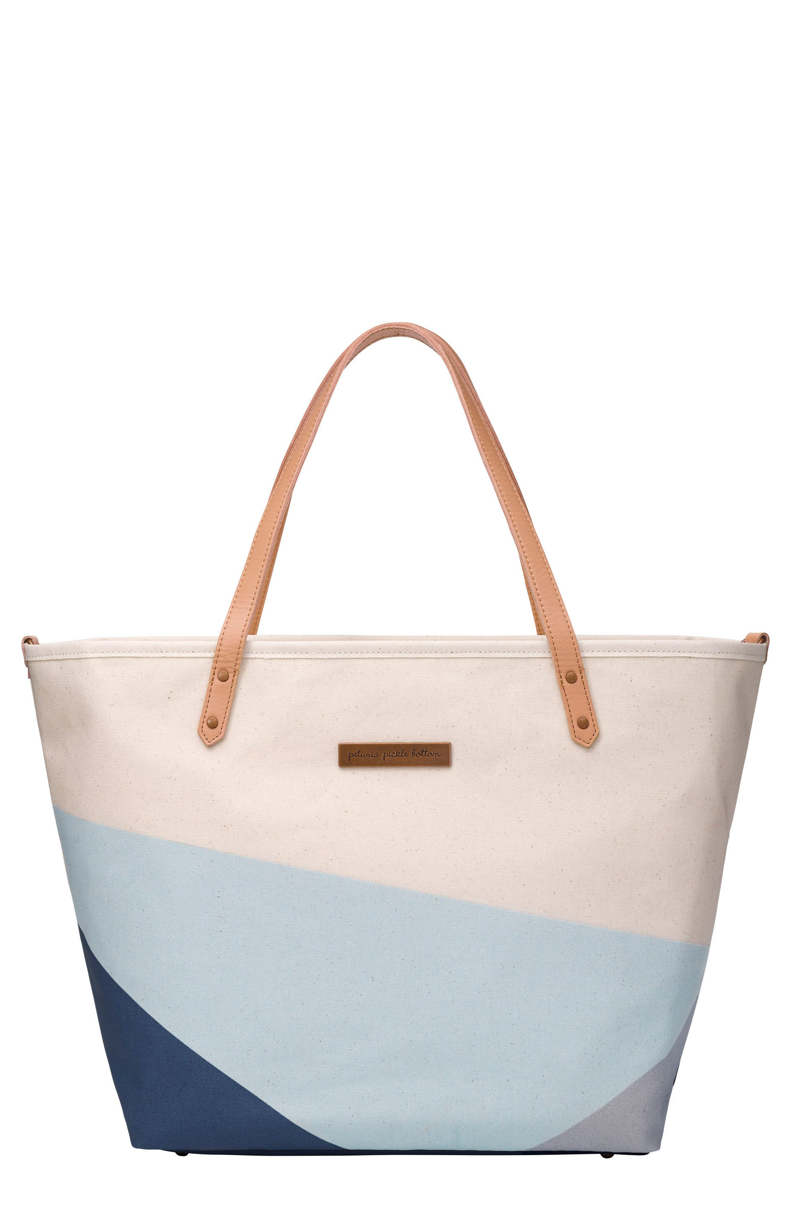 'Downtown' Canvas Diaper Tote,                             Main thumbnail 1, color,                             Birch/ Fjord