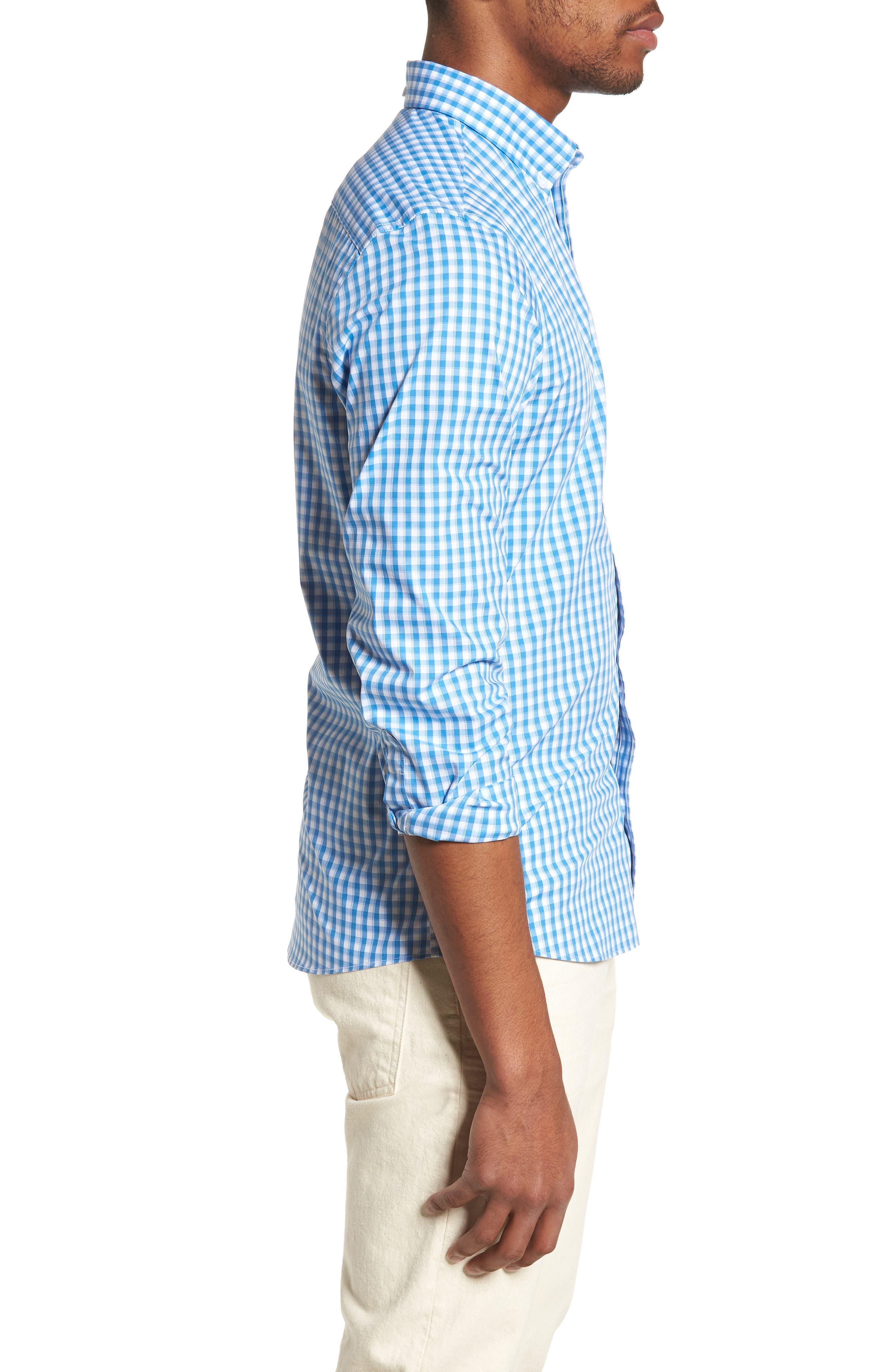 Tech-Smart Trim Fit Check Sport Shirt,                             Alternate thumbnail 4, color,                             Blue Camp White Gingham