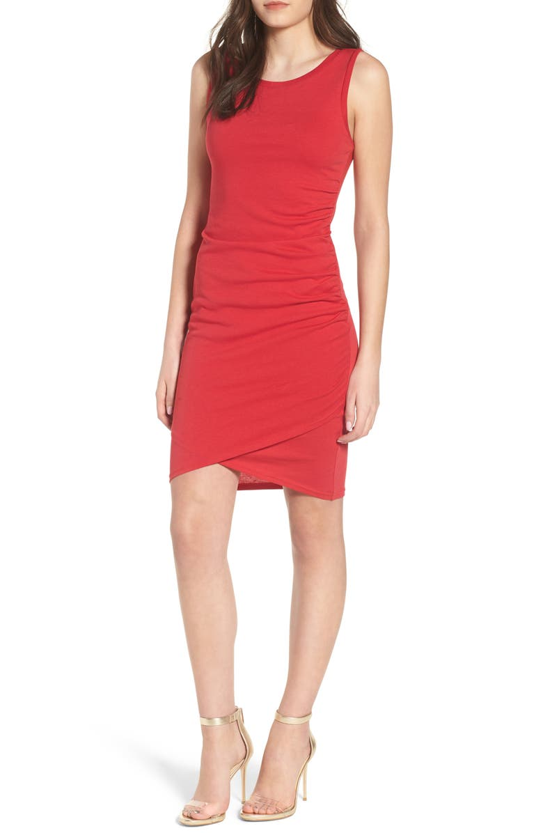 Ruched Body-Con Tank Dress, Main, color, Red Lipstick